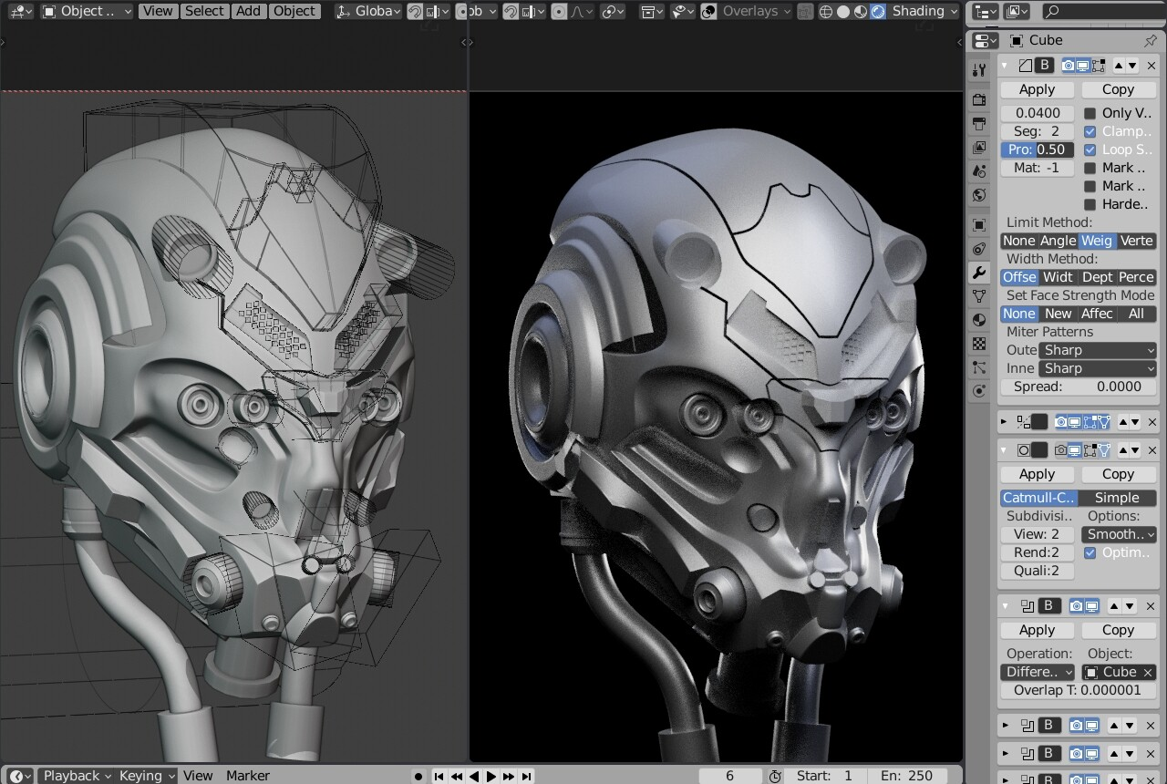 Non destructive Helmet block out with modifers : booleans, mirror, solidify, subdiv and crease