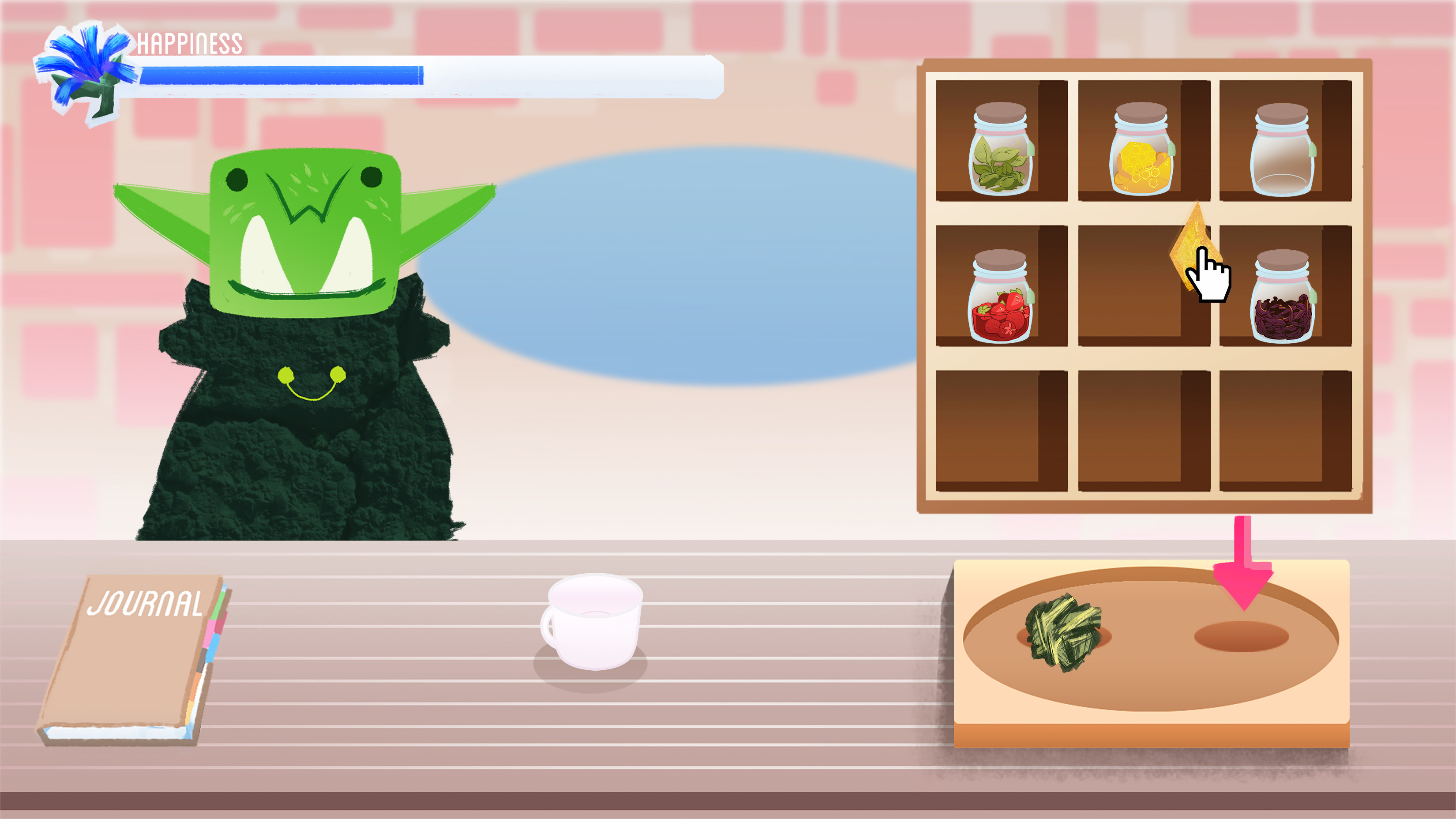 Player has to drag ingredients onto 2 spots on the mixing board before a 'mix!' button will appear.