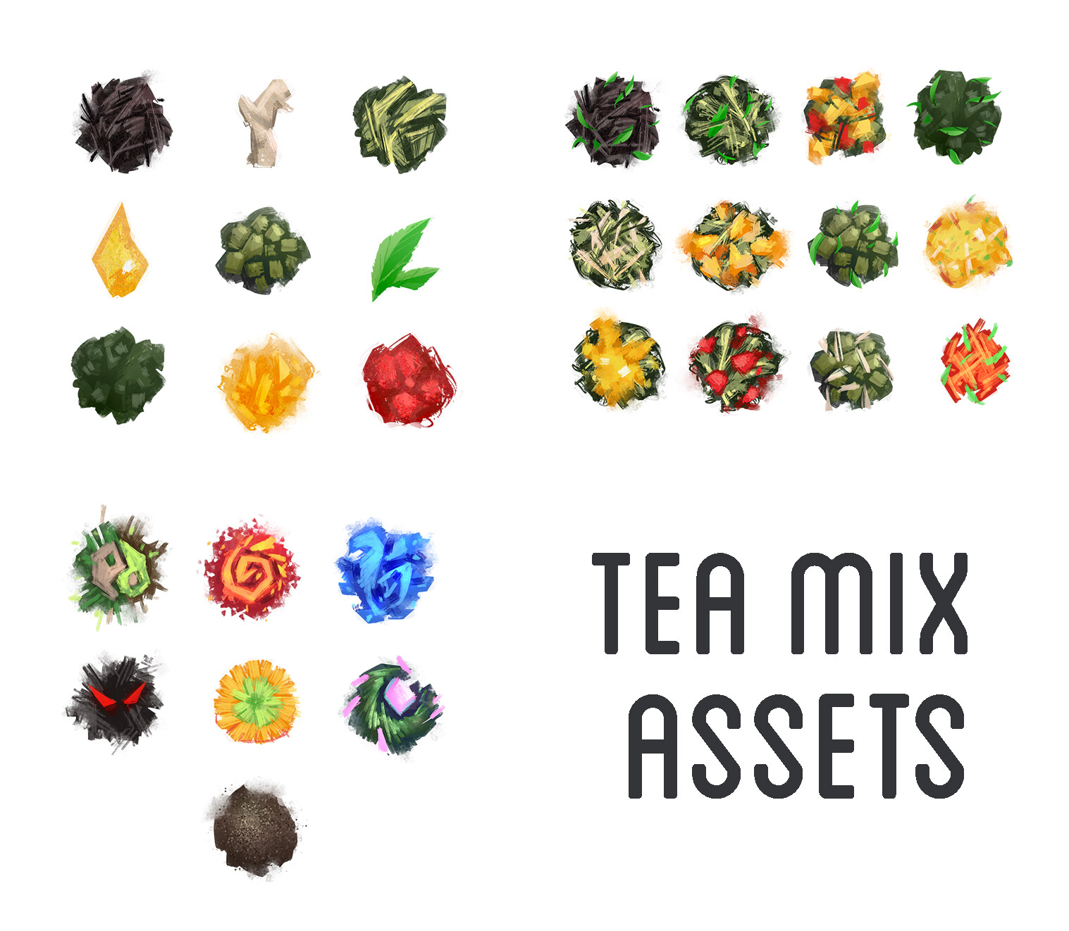 Tea leaf pile assets I worked on.