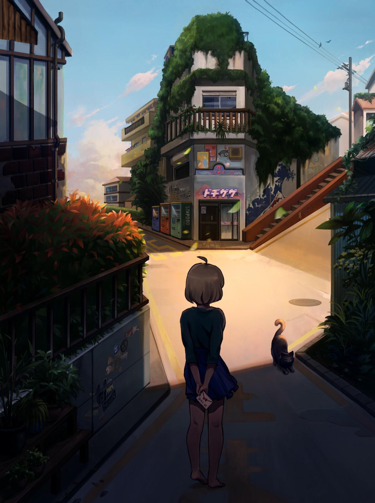 Anime street background artwork