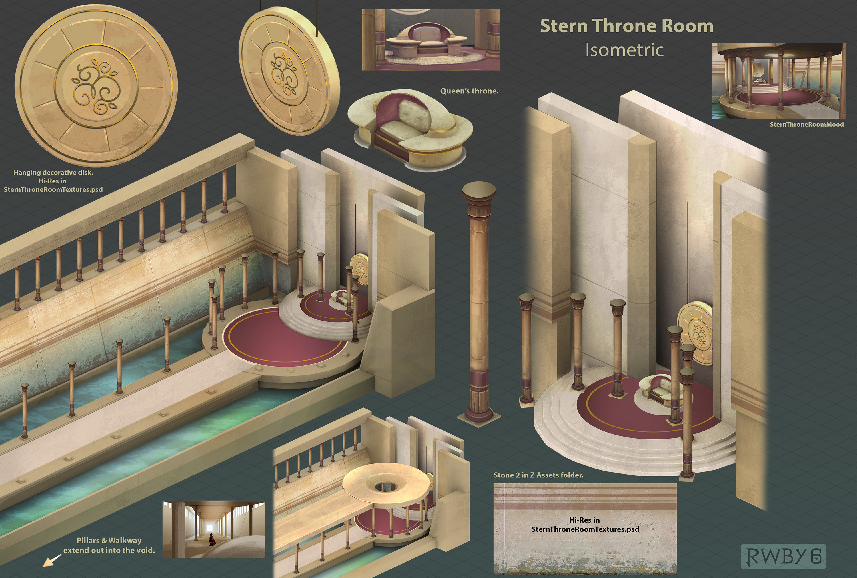 The throne room sets in chapter three only got a second or two, each, but I had a lot of fun designing them.