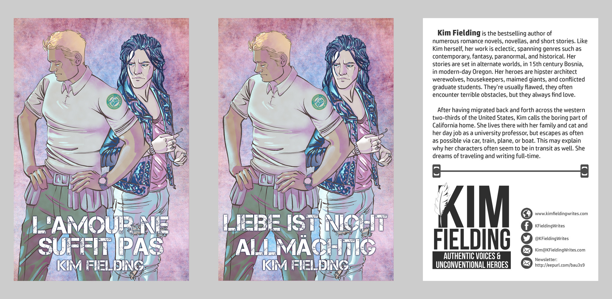 Promotional Print formatted for French and German audiences and English back matter about Kim Fielding