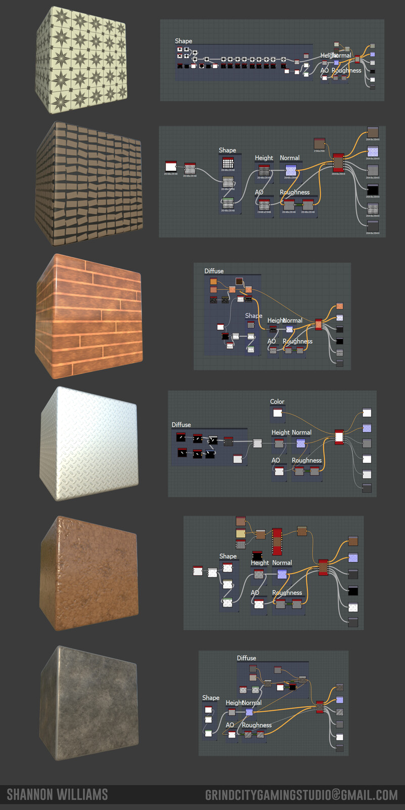 These were the materials that I created from scratch in Substance Designer.