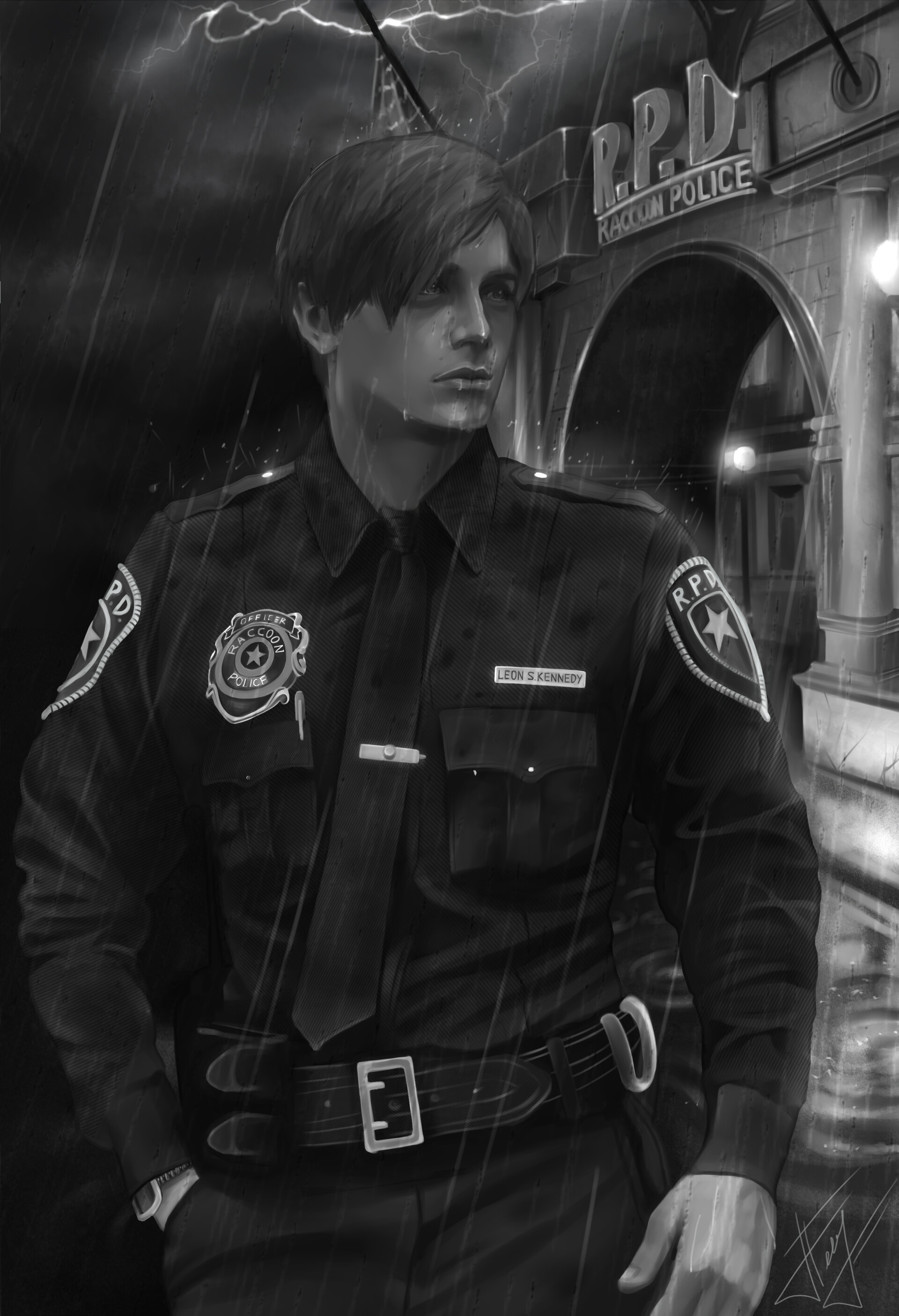 Artstation Leon Kennedy From Resident Evil 2 Remake In American