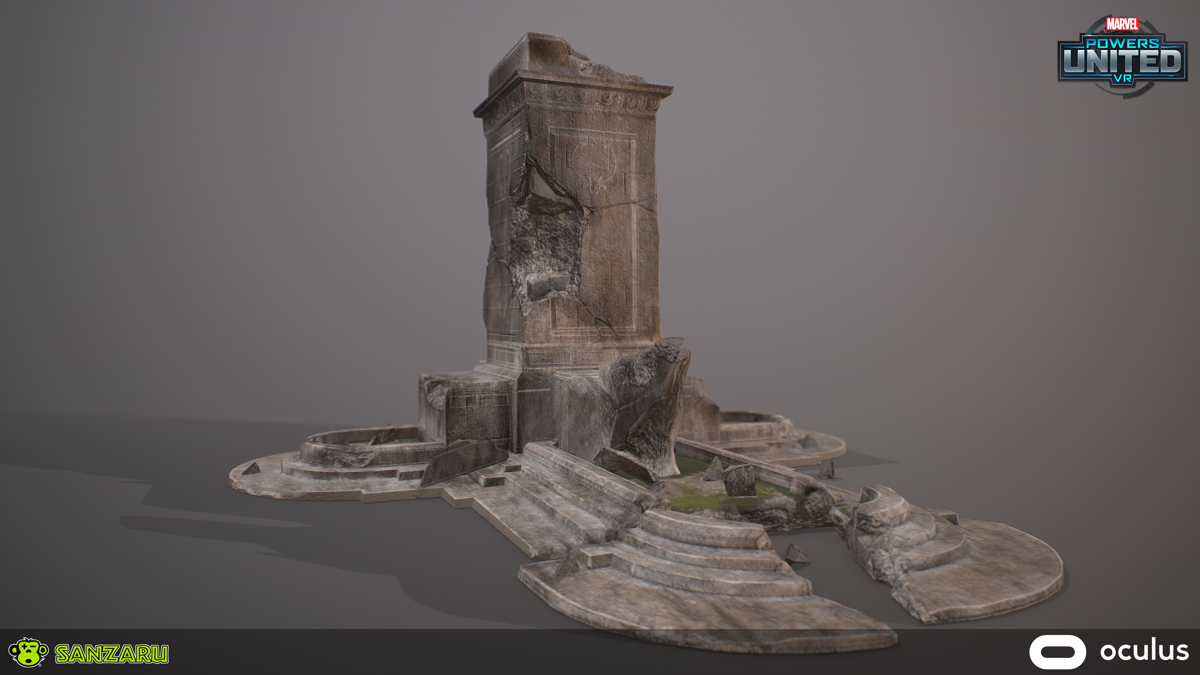Damaged US Park Monument - Solo View Sculpted in ZBrush, Original Maps rebaked in Substance Designer and Final Bakes and Texturing done in Substance Painter.