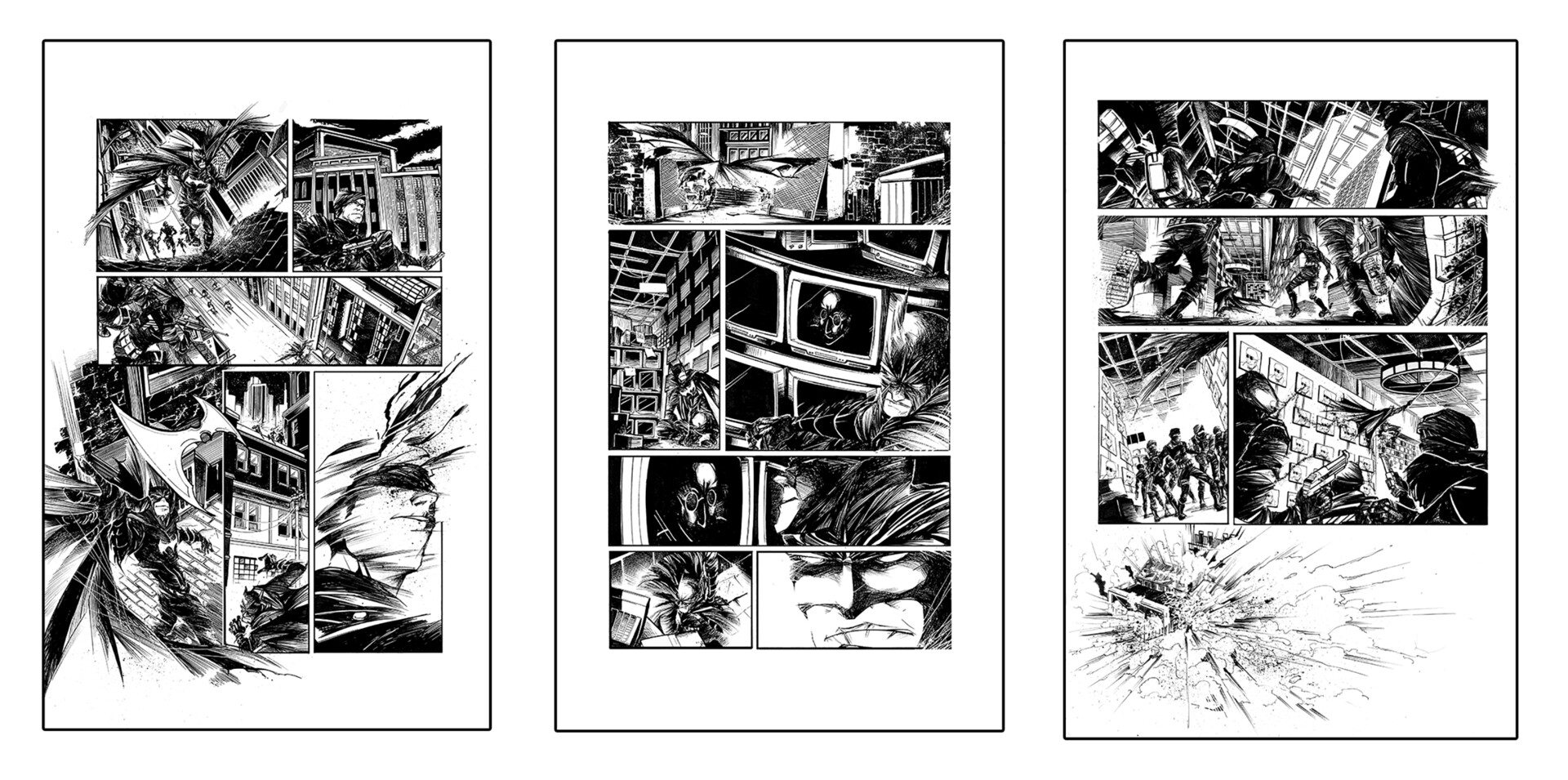 """Sequential Comic Book Pages """"Batman"""" - Original Ink by ARIELkris"""