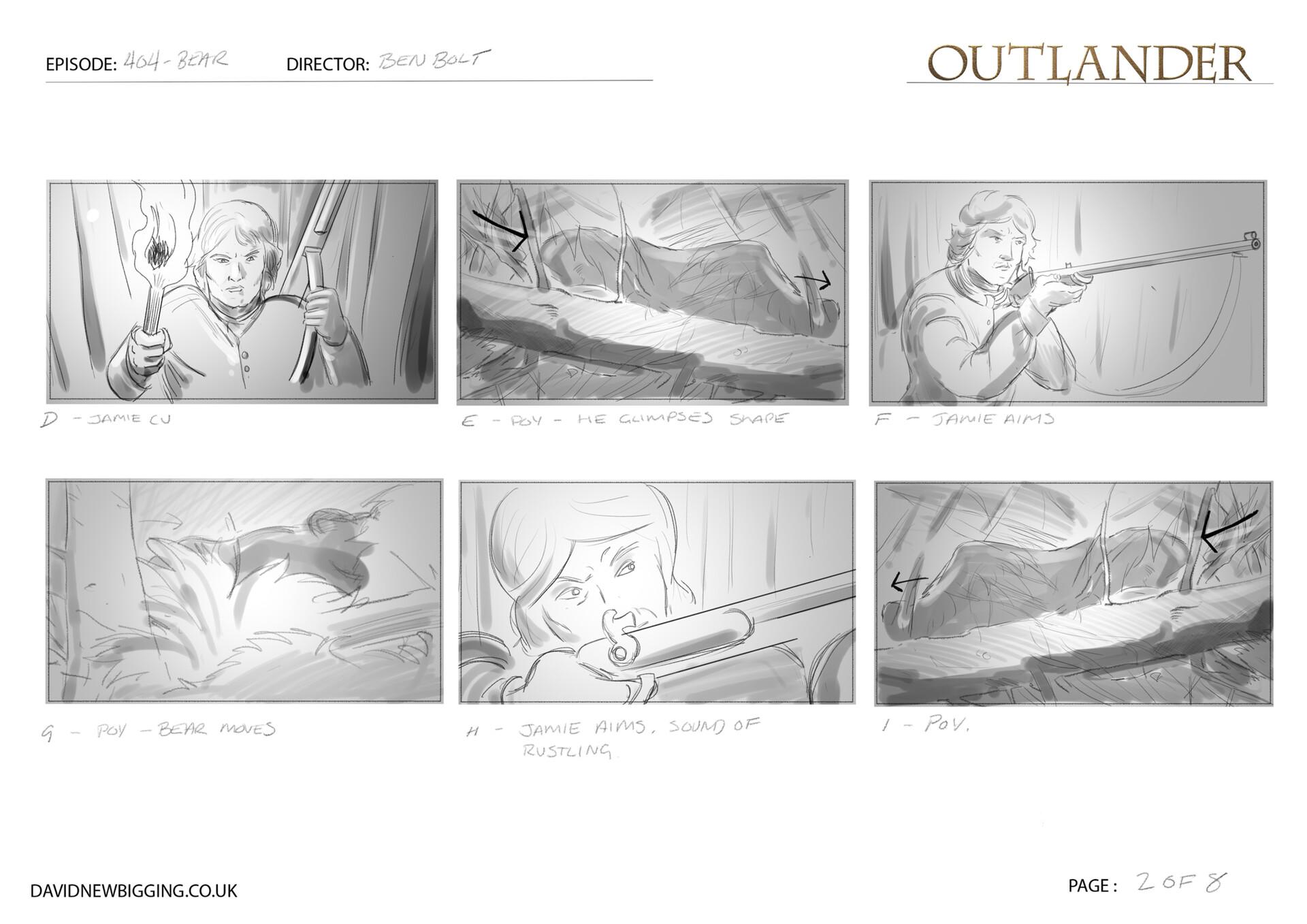 David newbigging outlander 404 bear sequence storyboards 2