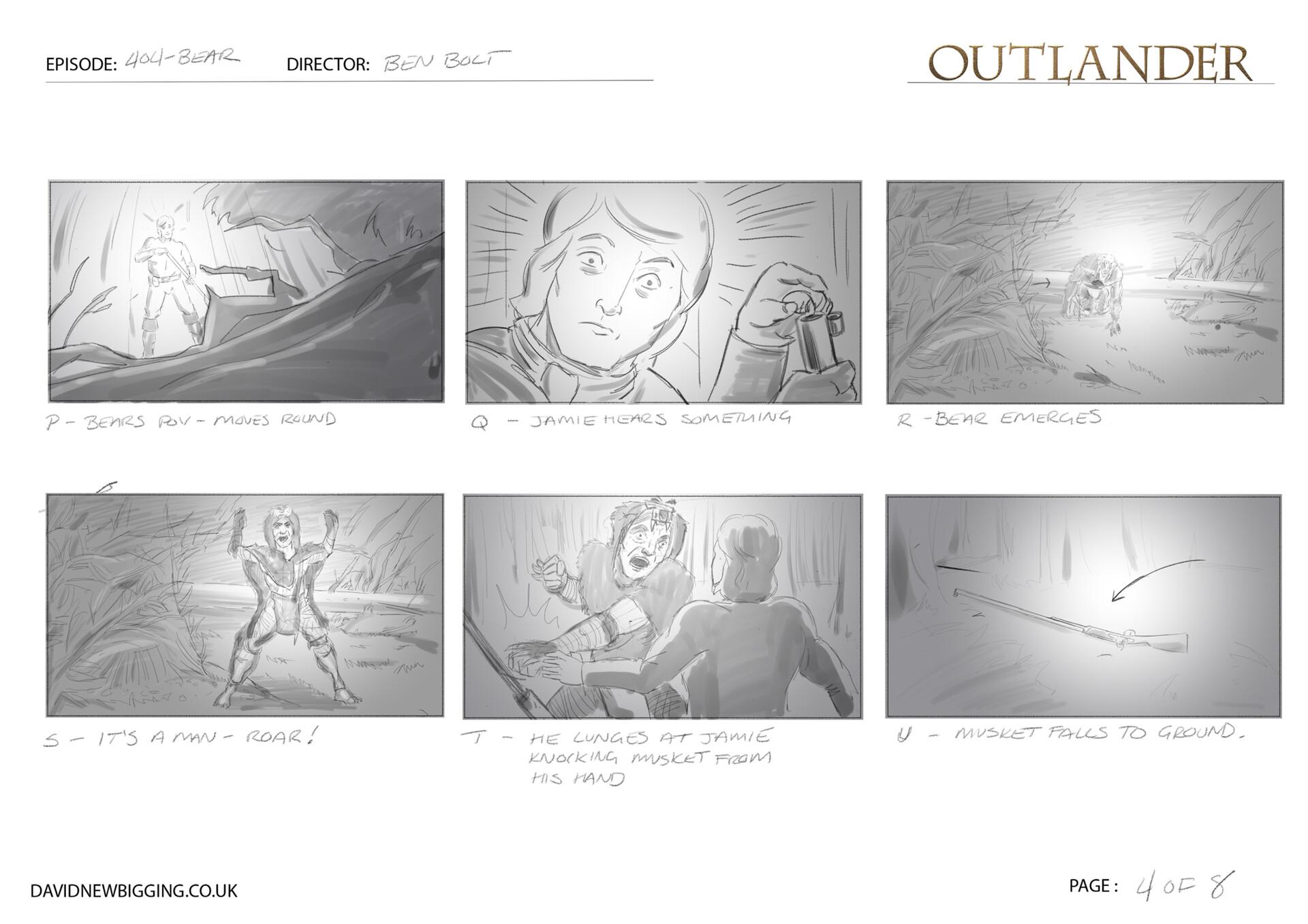 David newbigging outlander 404 bear sequence storyboards 4