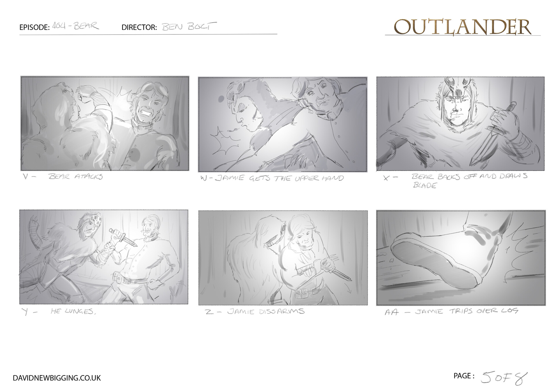David newbigging outlander 404 bear sequence storyboards 5