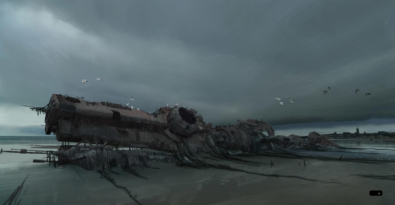 Overcast beach abandoned ship