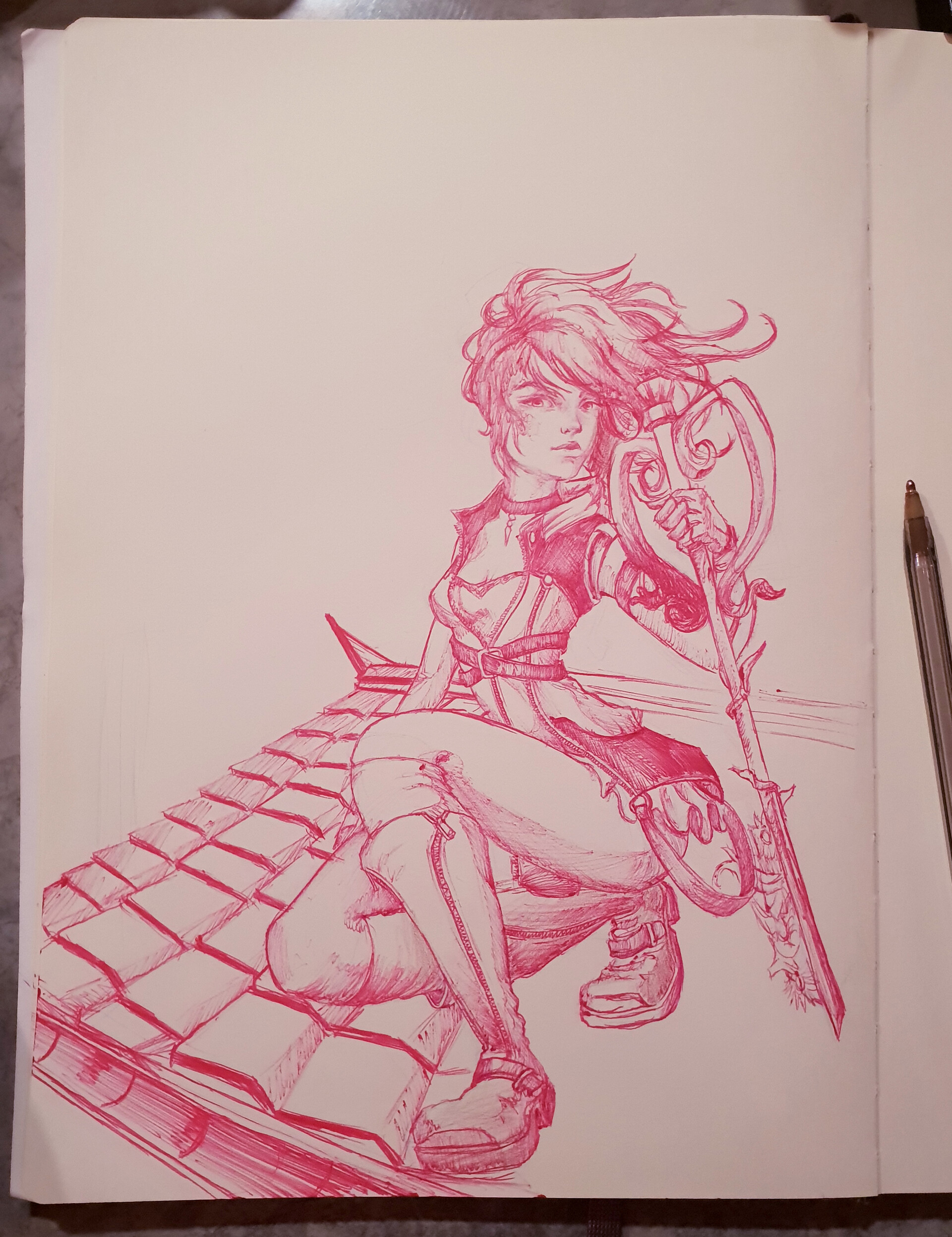 original sketch in pink biro