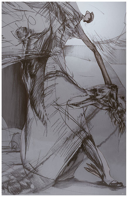 Concept pencil sketch of angel reaping, w/ simple psd grey tones.