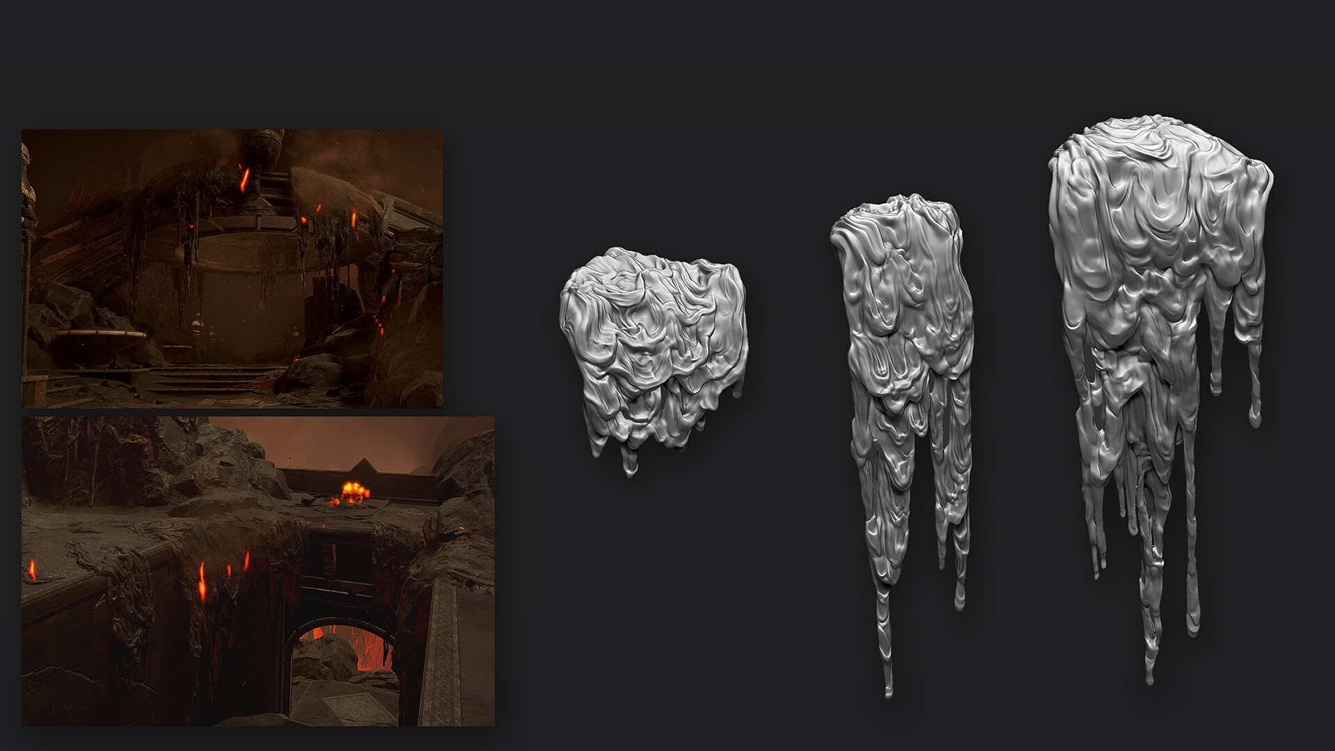 Dripping lava sculpting work
