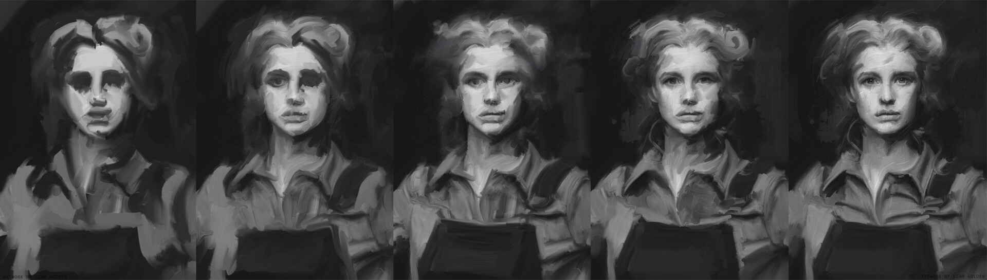 Liam golden painter study wips process