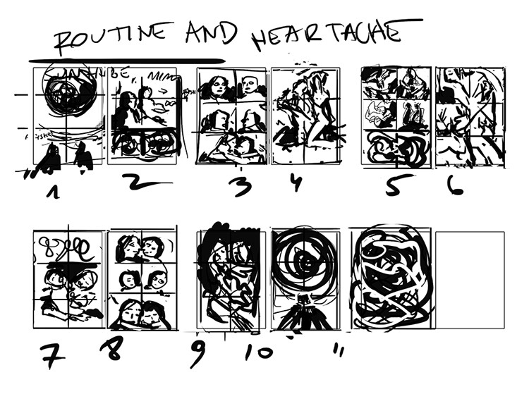 Very messy initial thumbnails for the comic pages