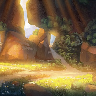 Travis lacey environment painting landscape cavern web
