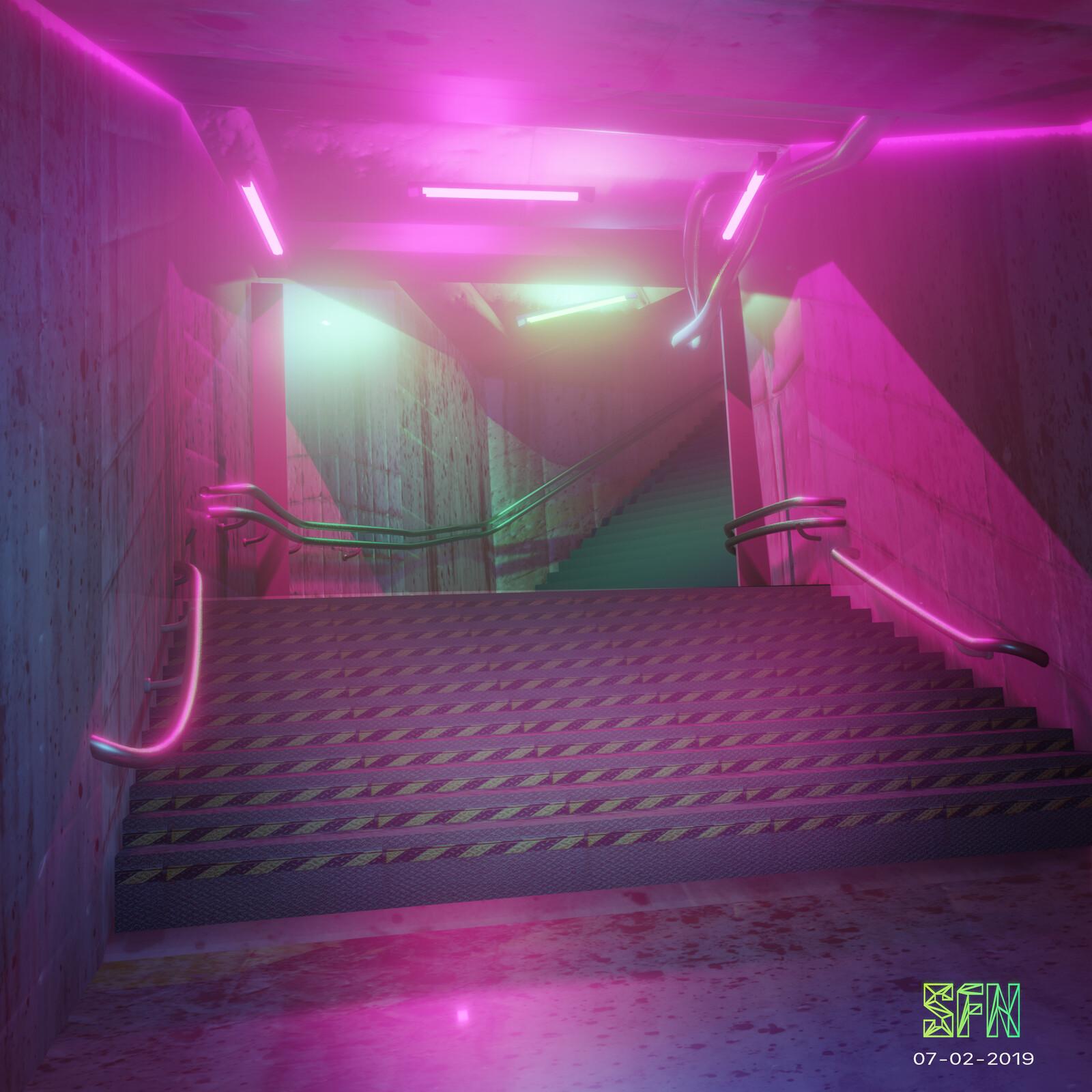 ArtStation - Neon Subway, Fina Nz