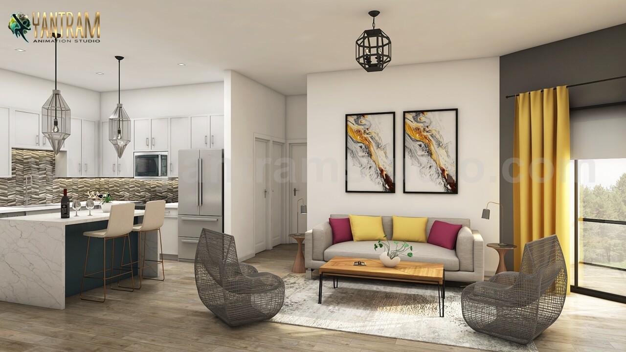 Artstation Trendy Kitchen Living Room Design Of 3d Interior Rendering By Animation Studio San Diego Usa Yantram Architectural