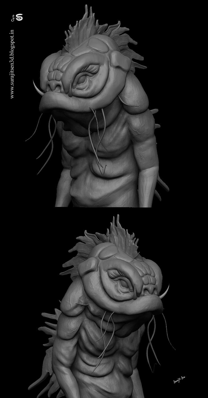 #quicksculpt  #digitalsculpt  Quick blocking of a Creature……My free time speed Digital sculpt study!
