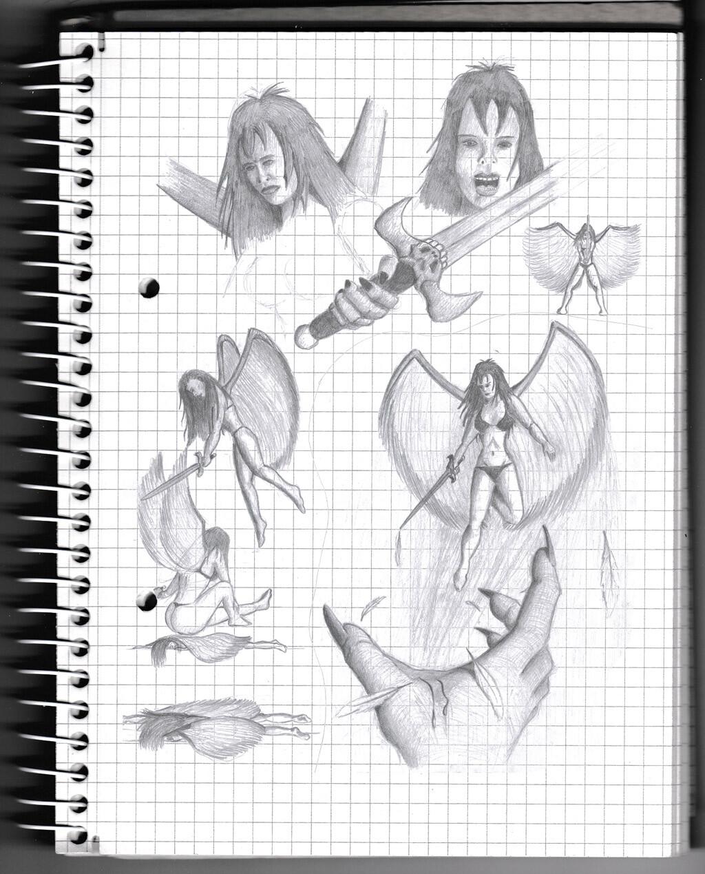 angel, fantasy, lady, warrior, sketch, pencil,