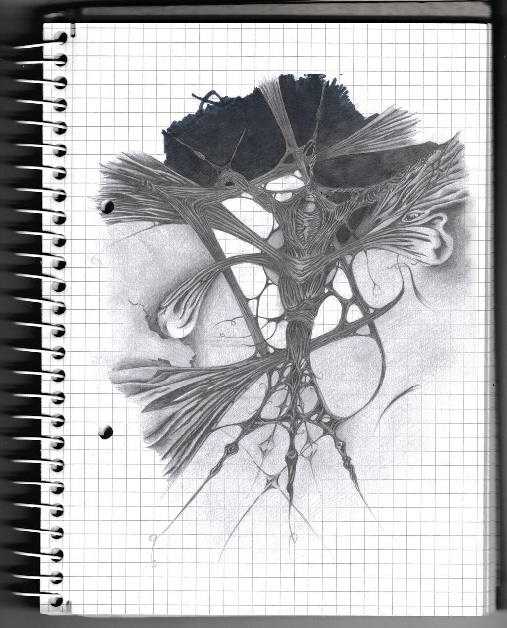 character, sketch, pencil, monster, creature, psychodelic,