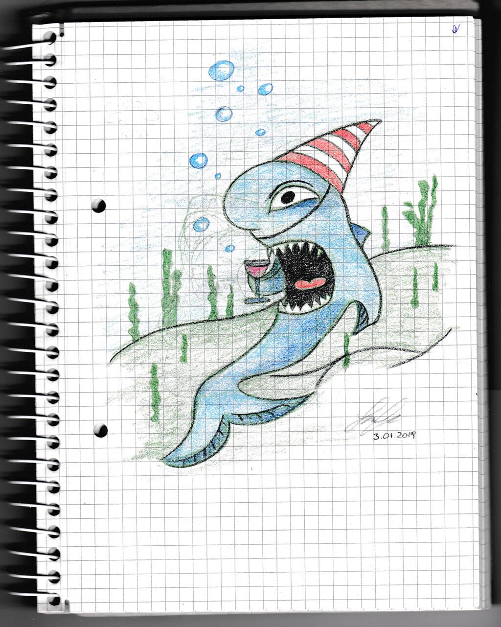 character, sketch, pencil, monster, creature, shark