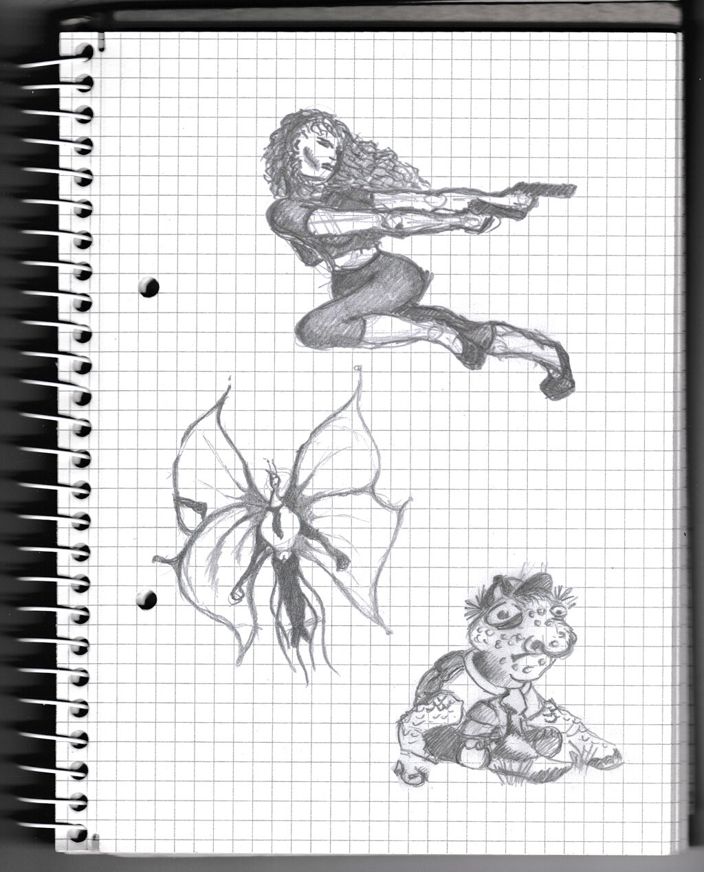 character, sketch, pencil, monster, creature, butterfly, warrior lady, turtle,