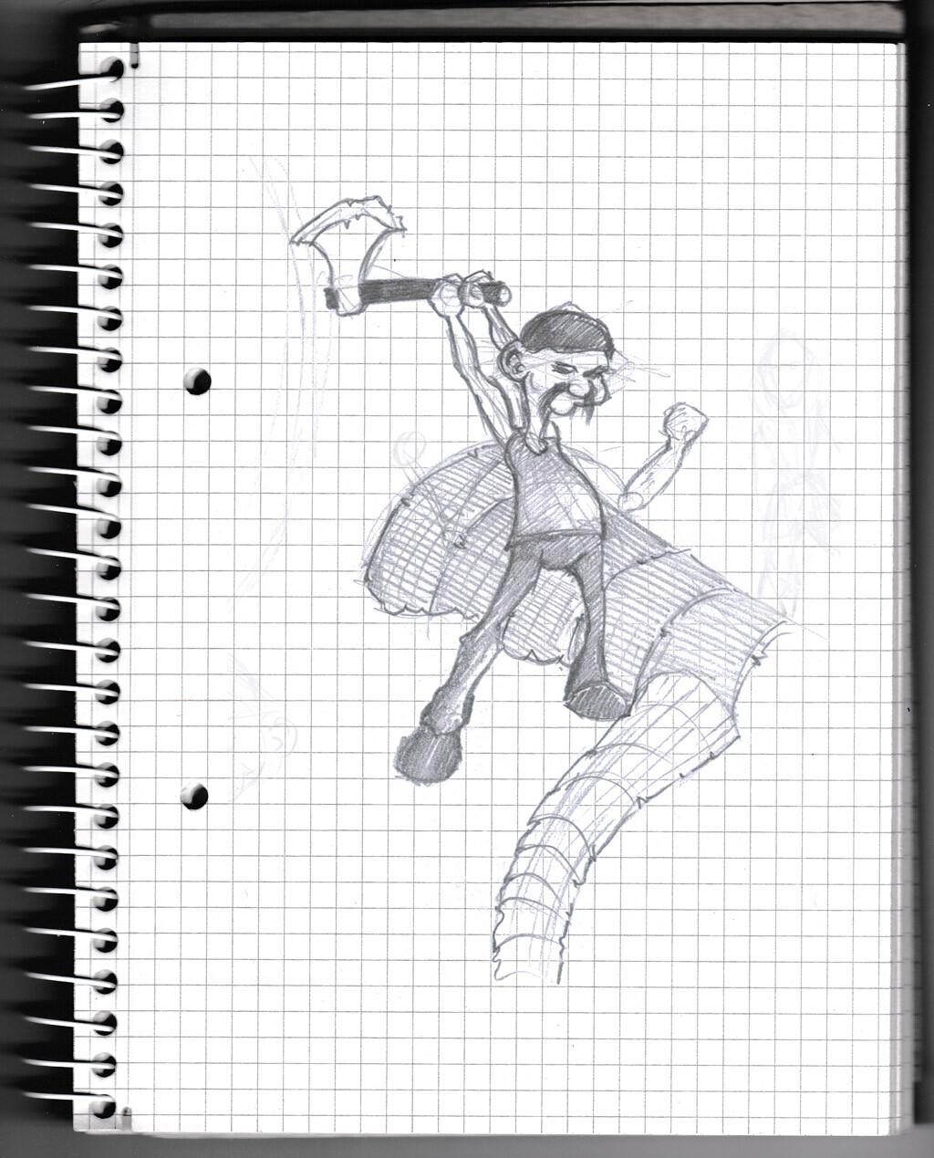 character, sketch, pencil, man, lumberman,