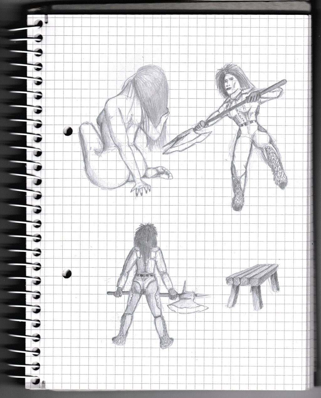 character, sketch, pencil, lady, warrior,