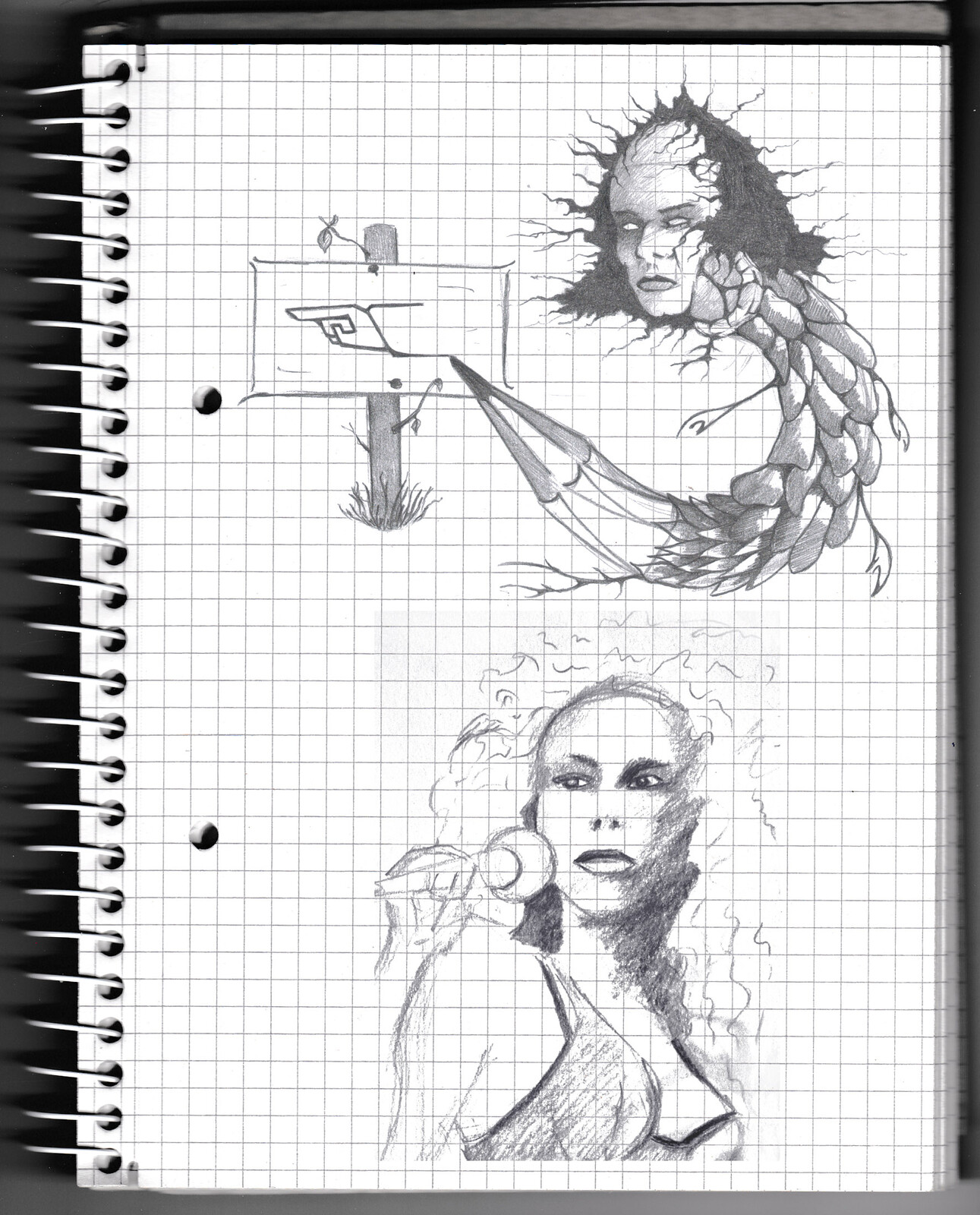 character, sketch, pencil, monster, creature, psychodelic, lady, monster,
