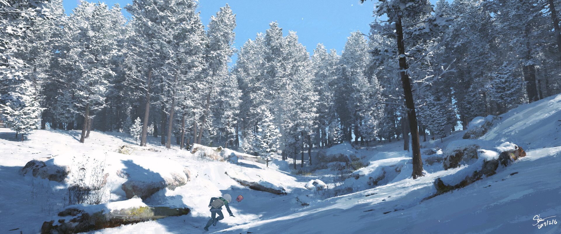 Continuing from West Route tunnel, Azure finds himself in a snowy forest.