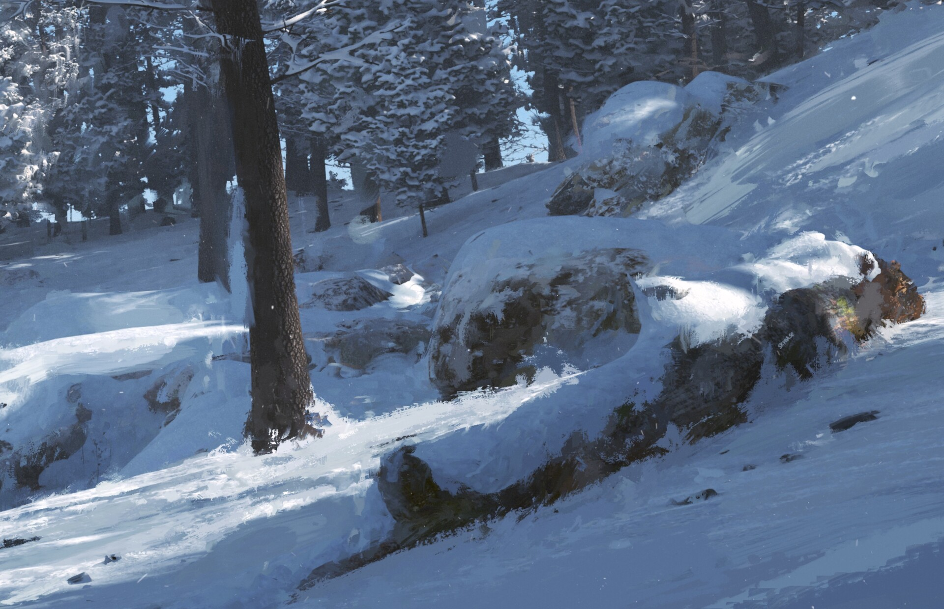 Details at 100%. I modified a lot of the assets adding elements such as snow and frost to the textures. Most of it was manual work.