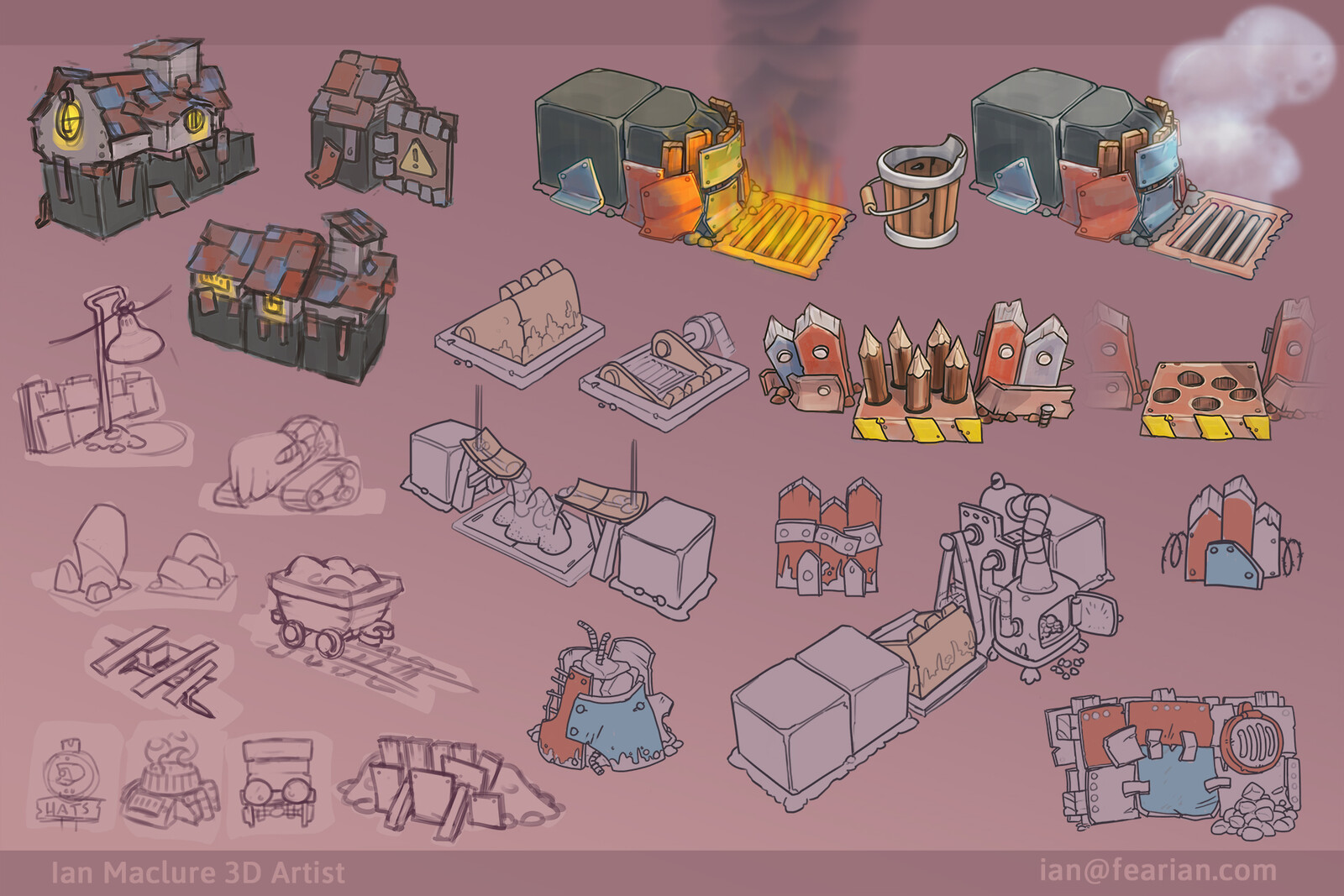 Early sketches to find what kind of props and mechanics would be used to give the levels a different feel from the rest of the game.