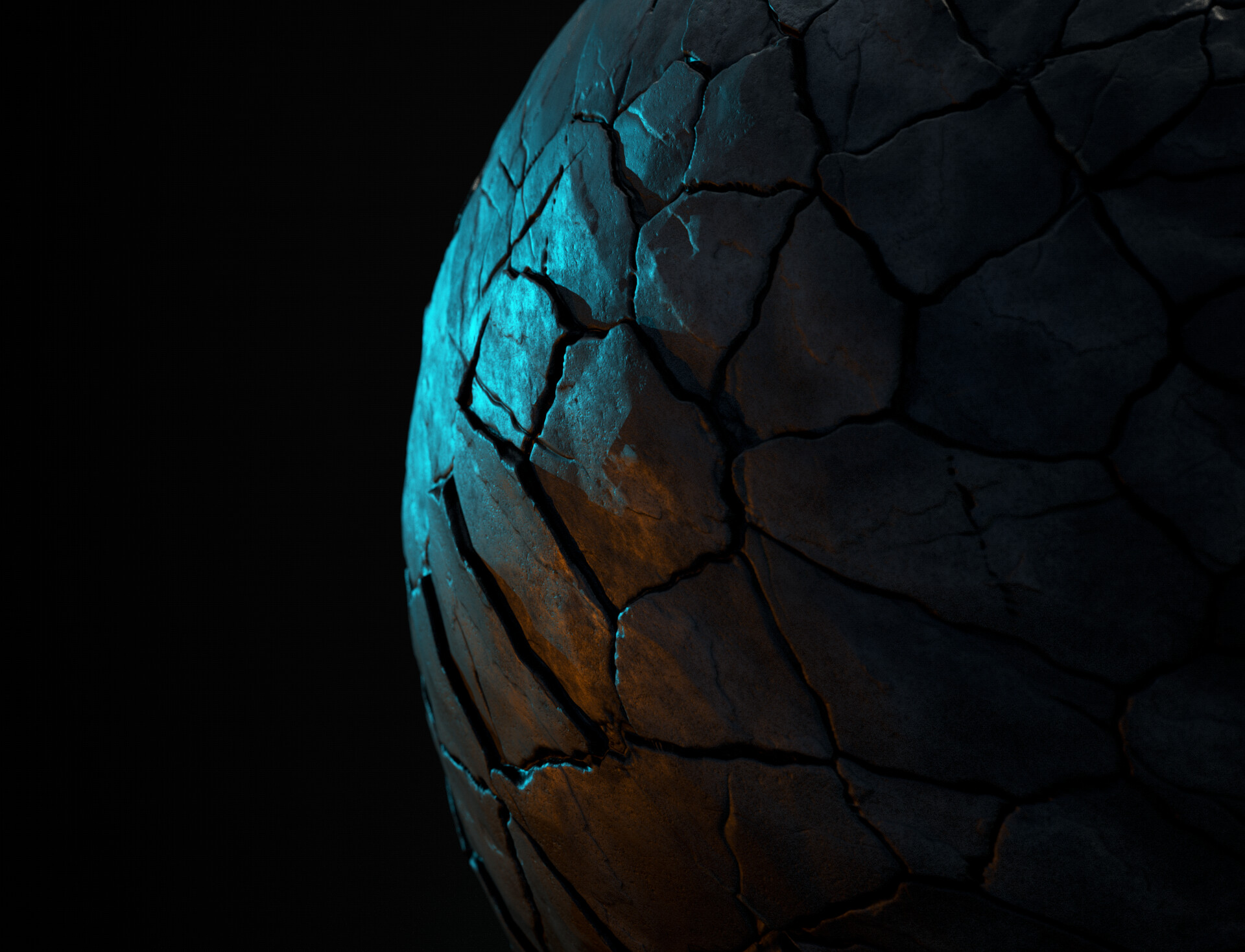 Classic Sphere Render with 2 colored lights to see the displacement better.