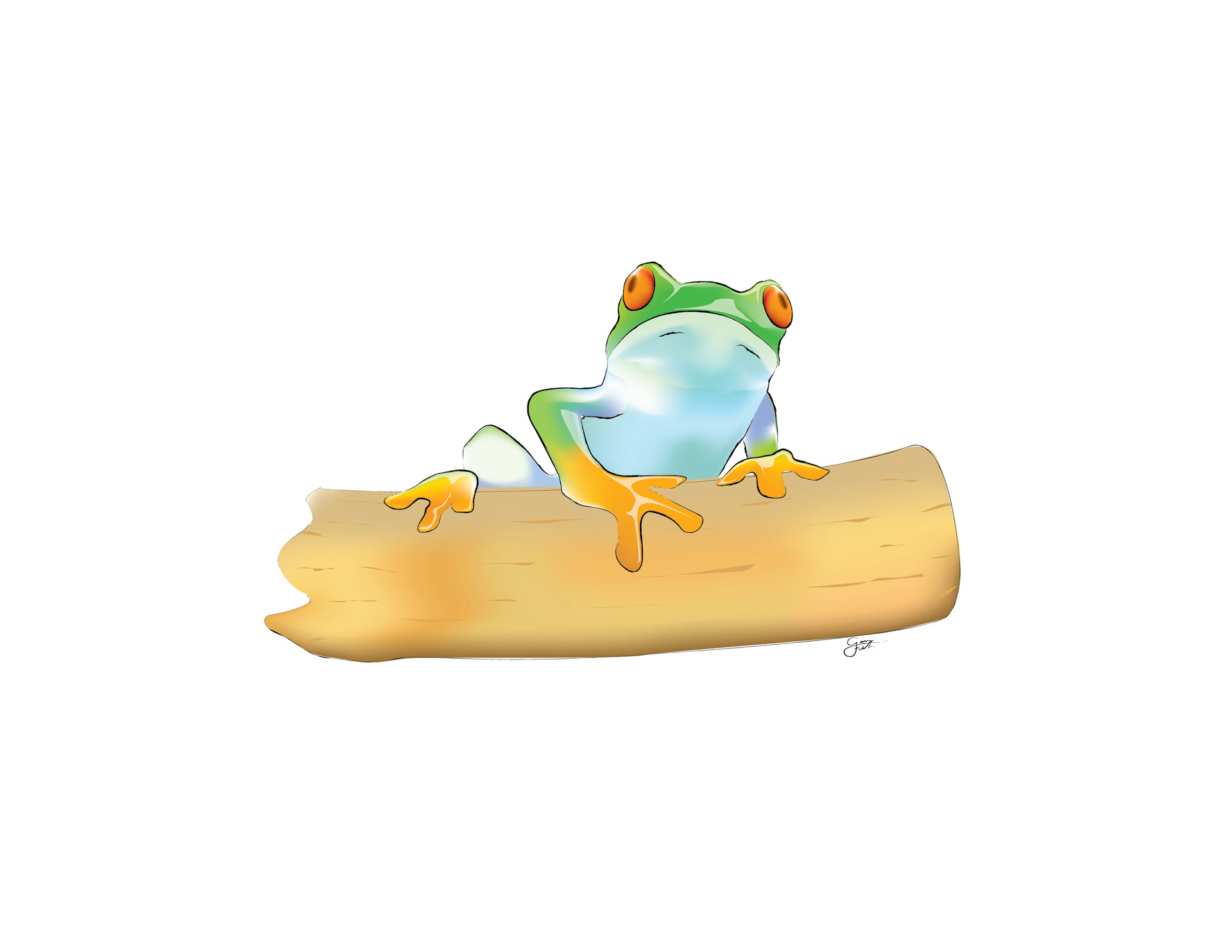 Old Work - quickie frog illustration in Adobe Illustrator, using gradient meshes for colour blending.