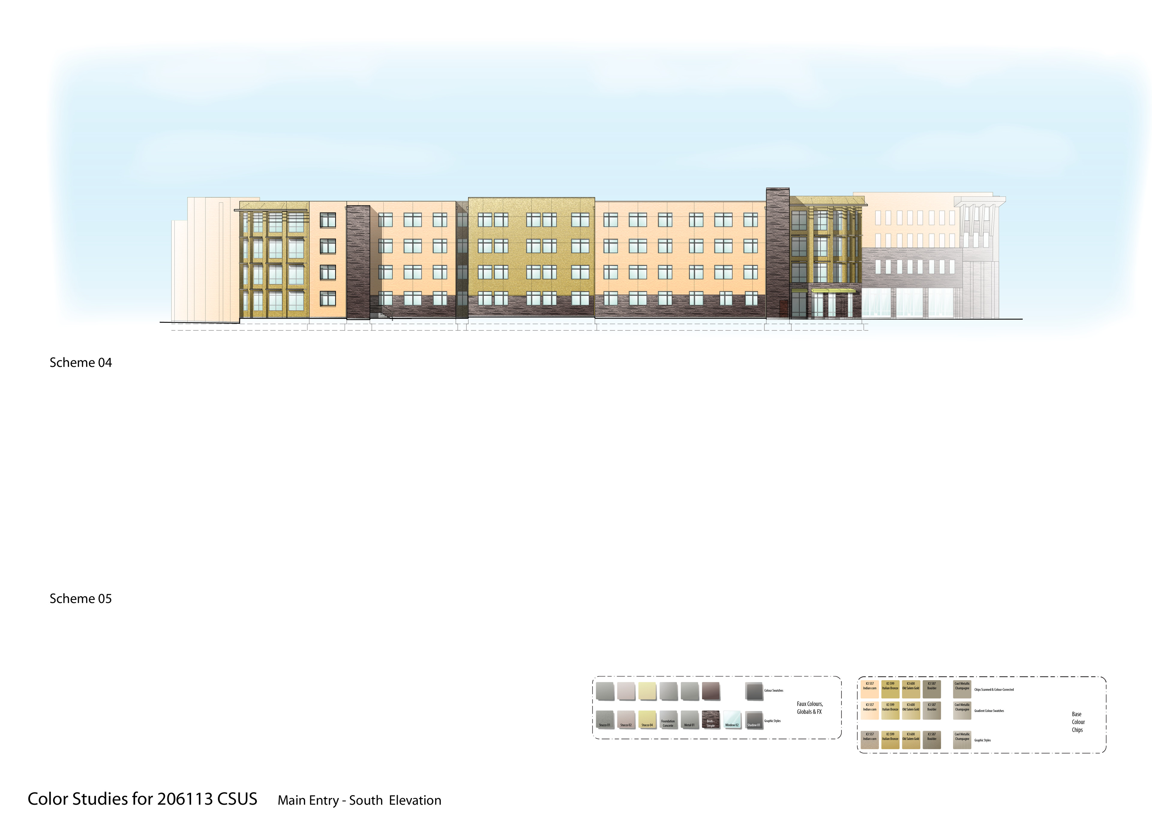 Old work - part of the extensive colour studies I did for the CSUS American River Courtyard student housing project.