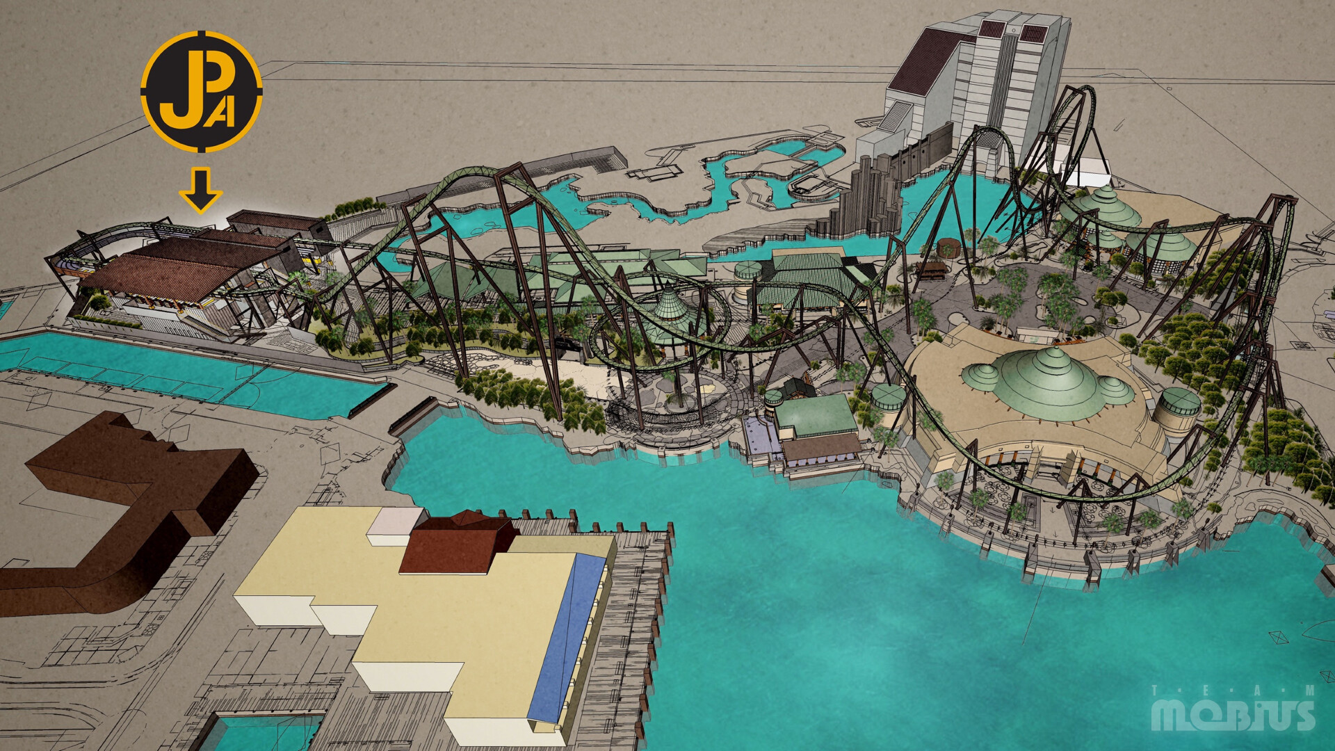 Birdseye view of attraction layout