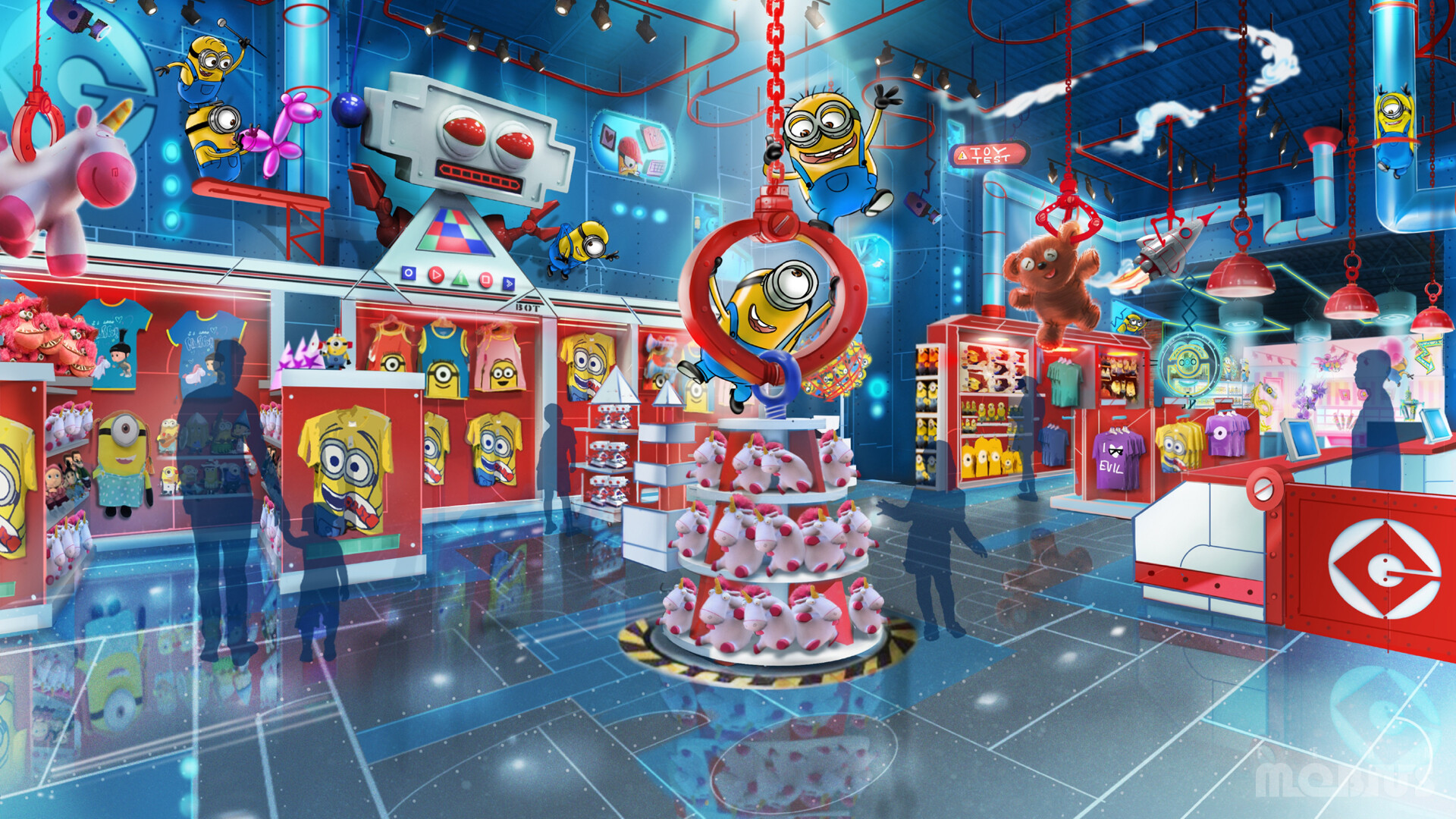 Concept artwork for the interior of the Toy Store retail store area