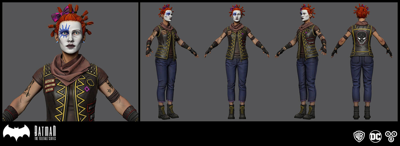 The textures for Lauren that I submitted. I was given the detail line maps, and skin base texture. I made slight changes to those. I was also given images for the tattoos. The final version of Lauren in the episode had changes added to my submission.