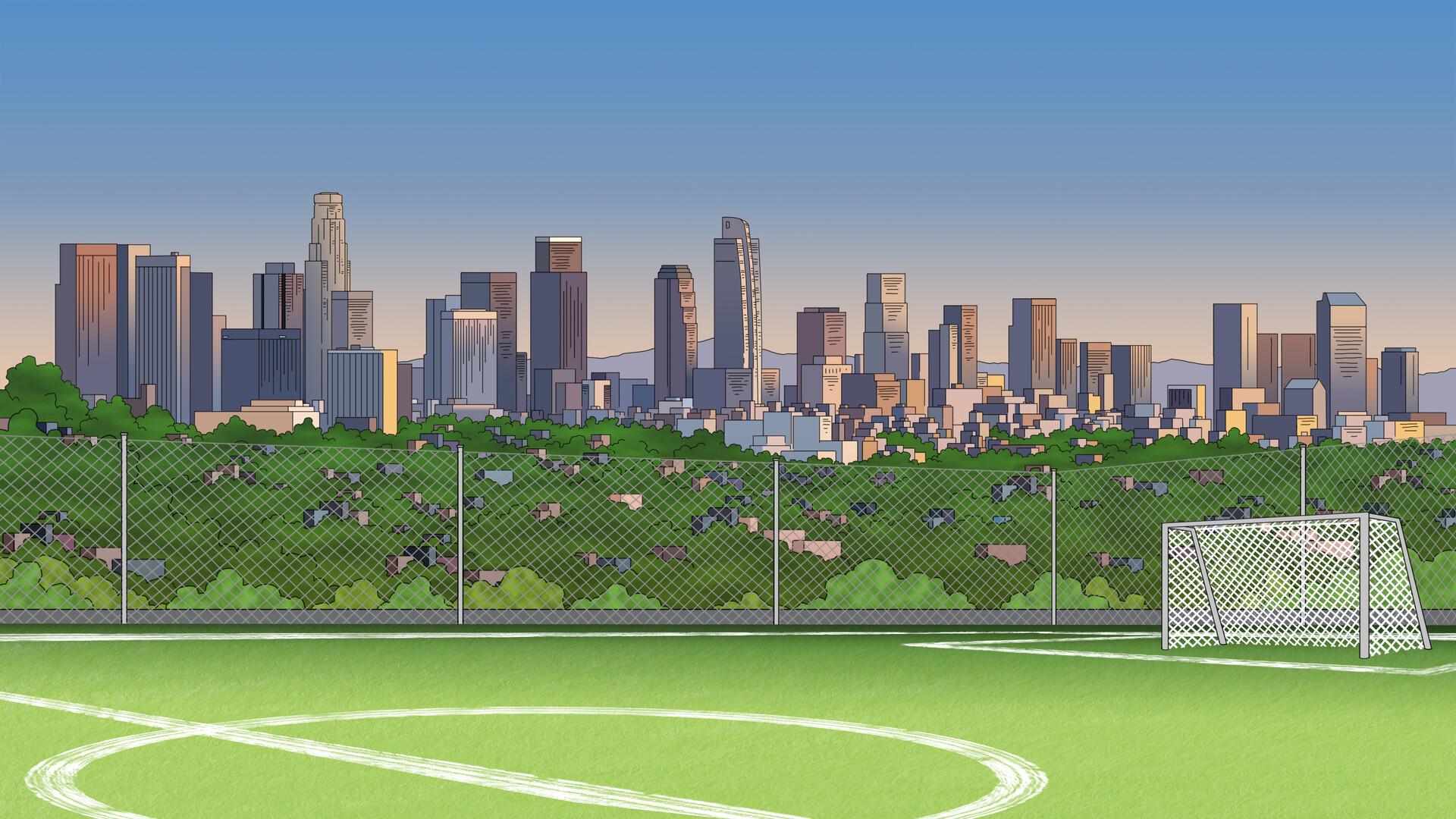 LA skyline and soccer pitch