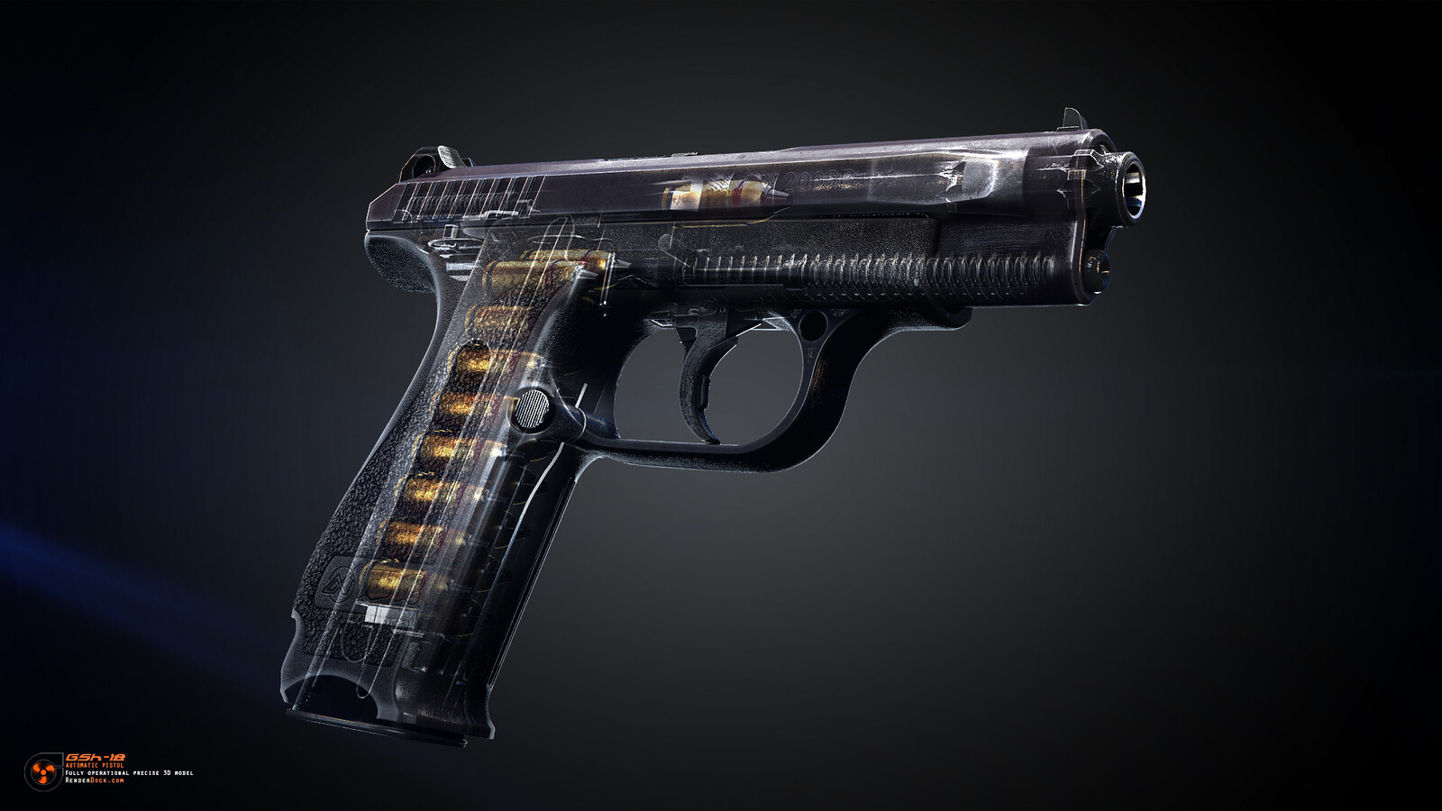 The name GSh-18 stands for the two designers surnames, Vasily Gryazev & Arkadiy Shipunov,two famous designers that created various cutting-edge soviet cold war era weapons.