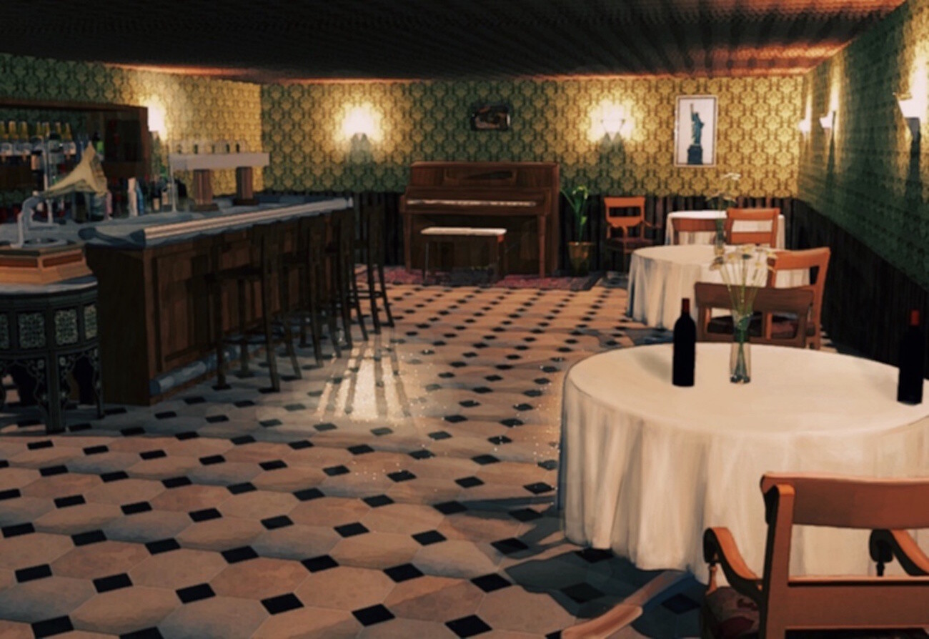 Our finished speakeasy background for our indie visual novel.