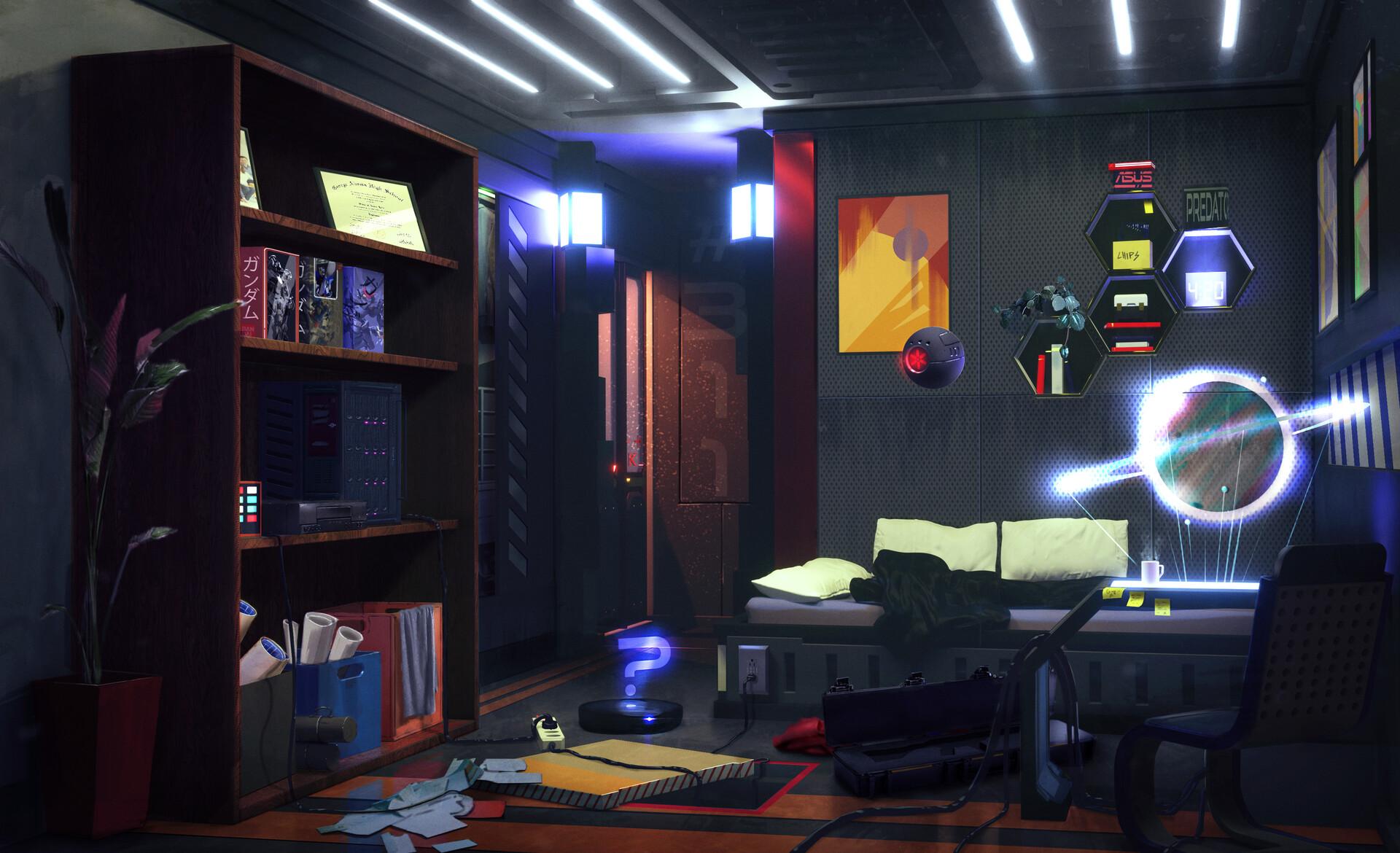 ArtStation - Sci-Fi / Cyberpunk room Design., Veniamin ...