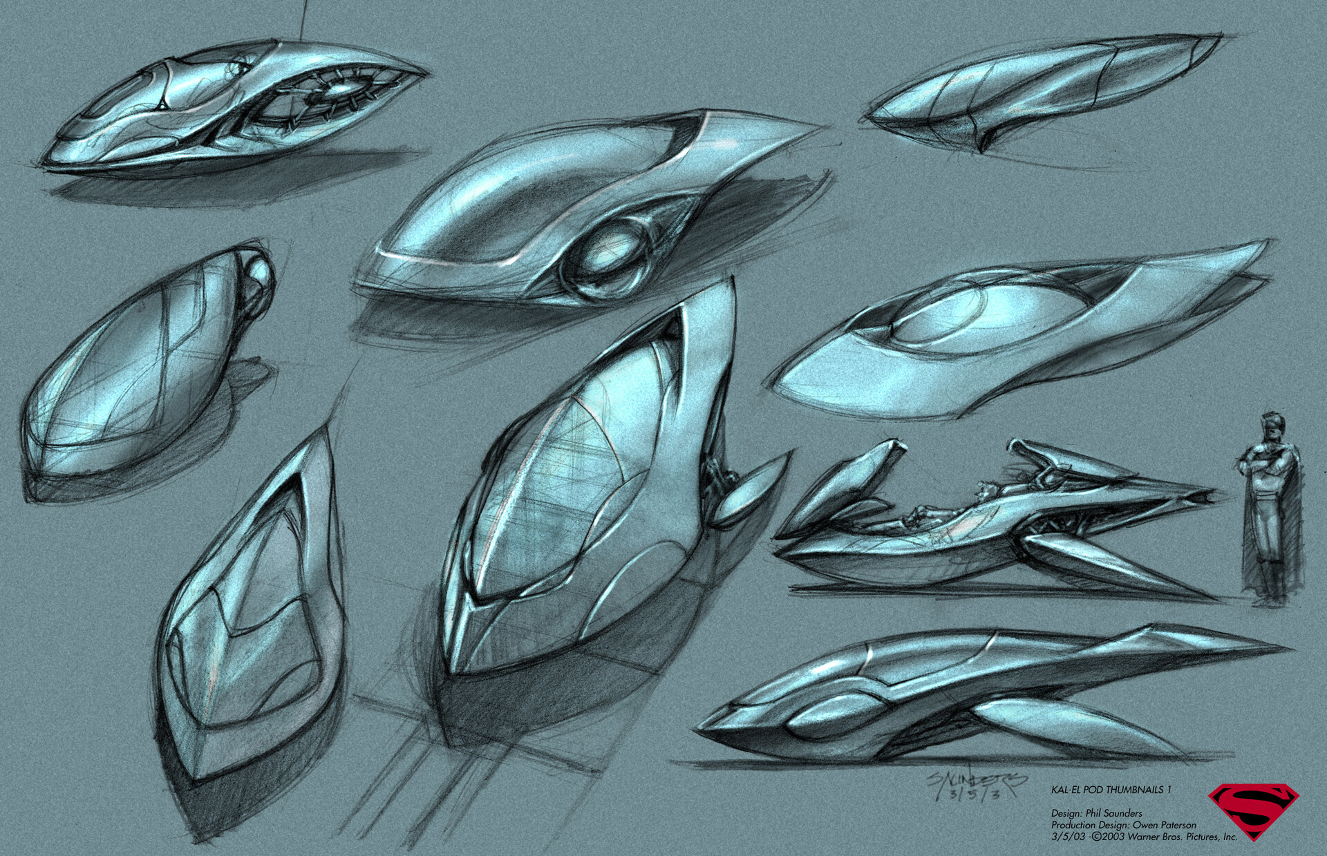 "My initial page of sketches, Prismacolor pencil on velum, then scanned and toned using the ""fake Canson paper"" technique I used at the time. A lot of speed forms, but I really liked the one in the top left corner, which I pursued further."