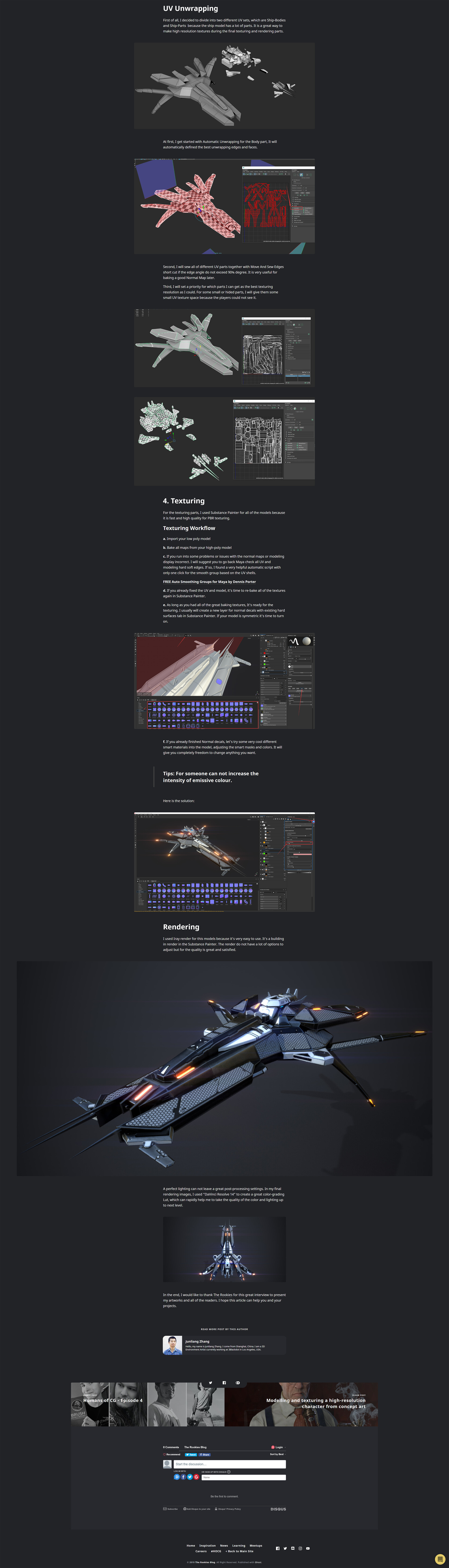 Junliang zhang creating a space fighter with substance painter for games 02