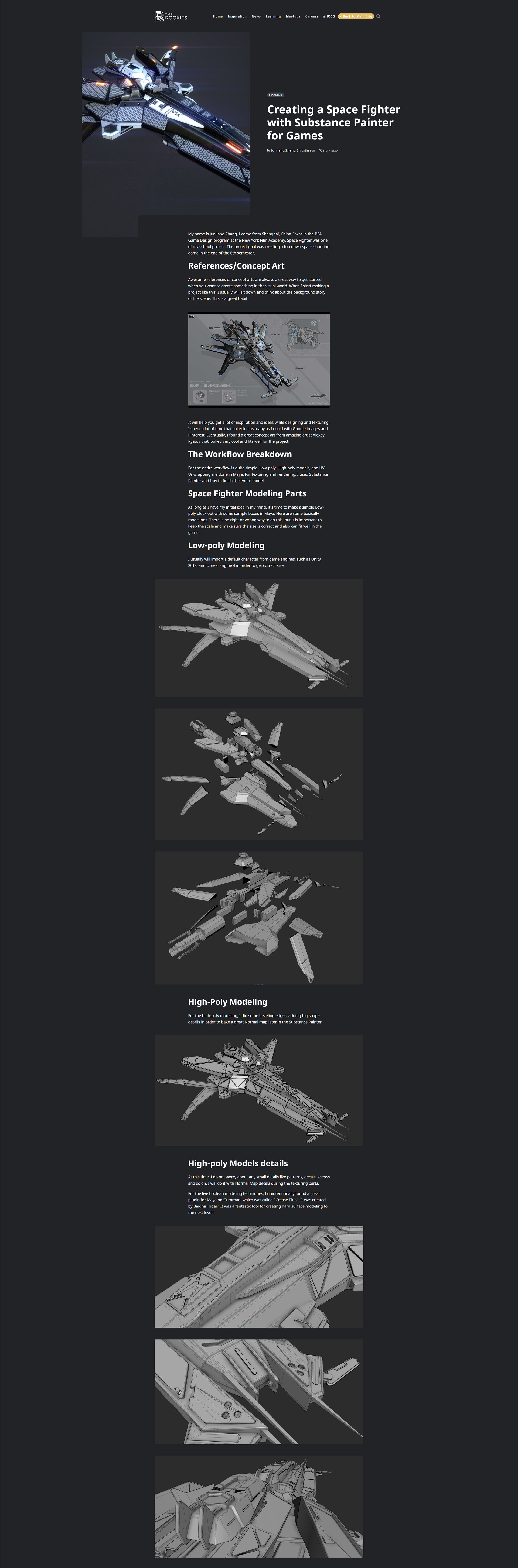 Junliang zhang creating a space fighter with substance painter for games 01
