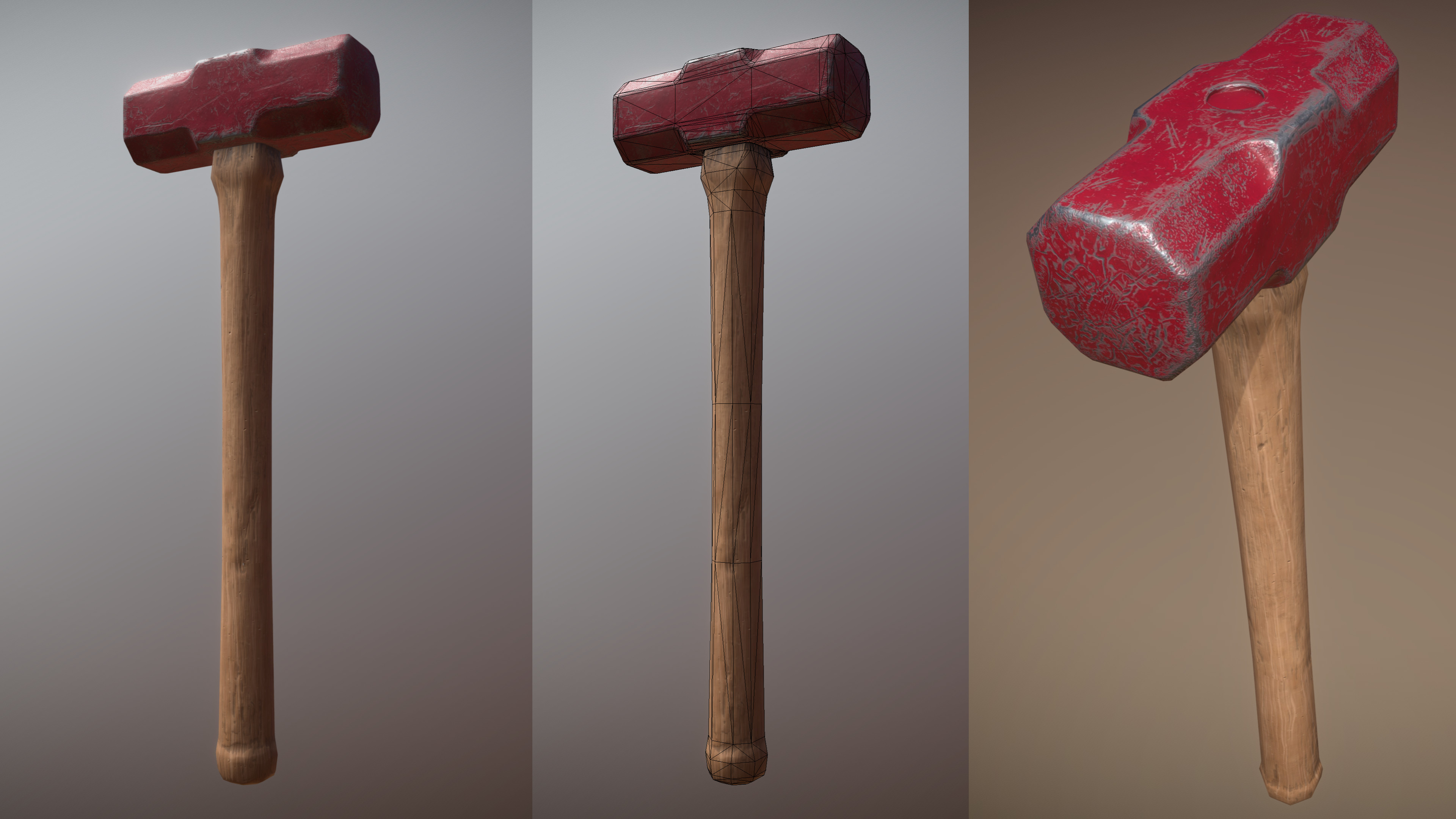 Worn Sledgehammer realistic model - images and wireframe