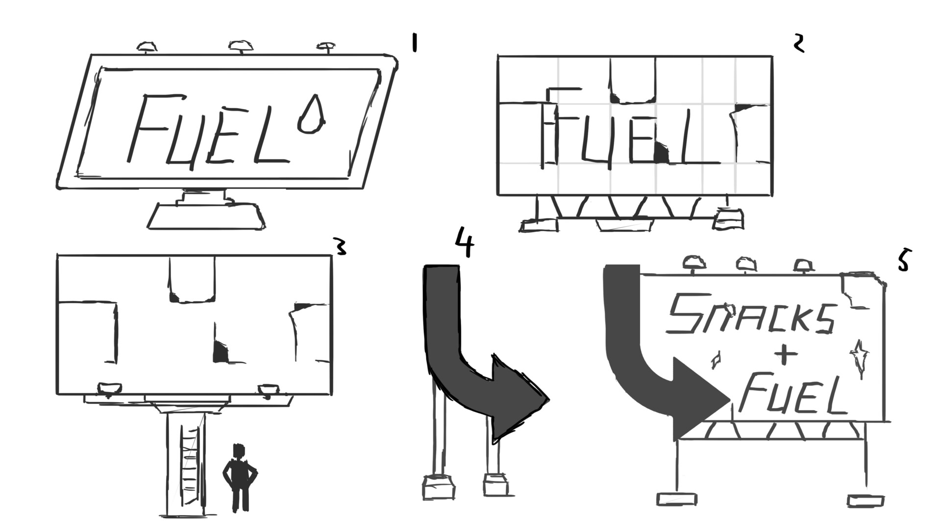 Concept art for the sign that was going to be instrumental later on.