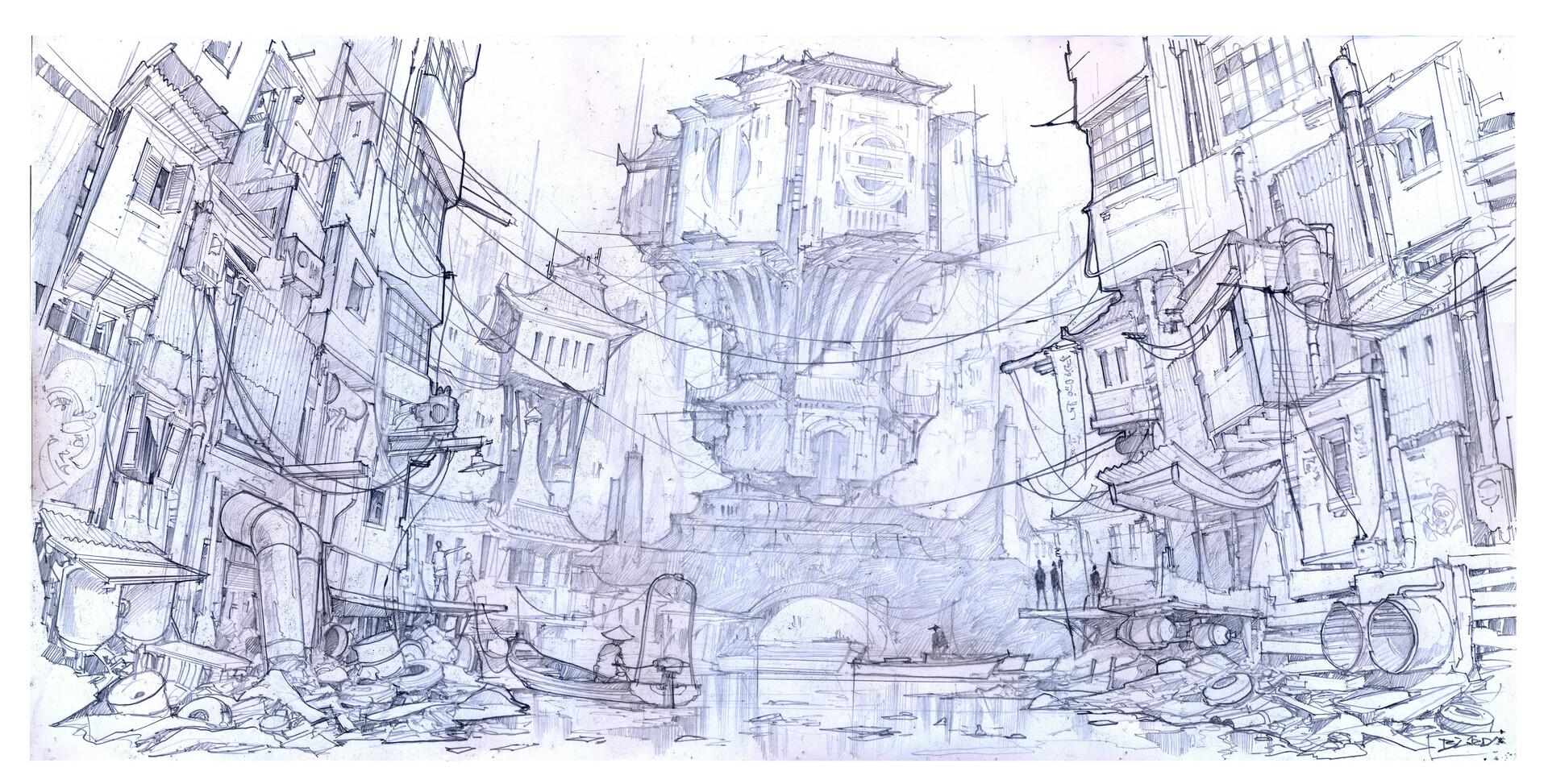 Alejandro burdisio blackburns tower jungle city sketch 3