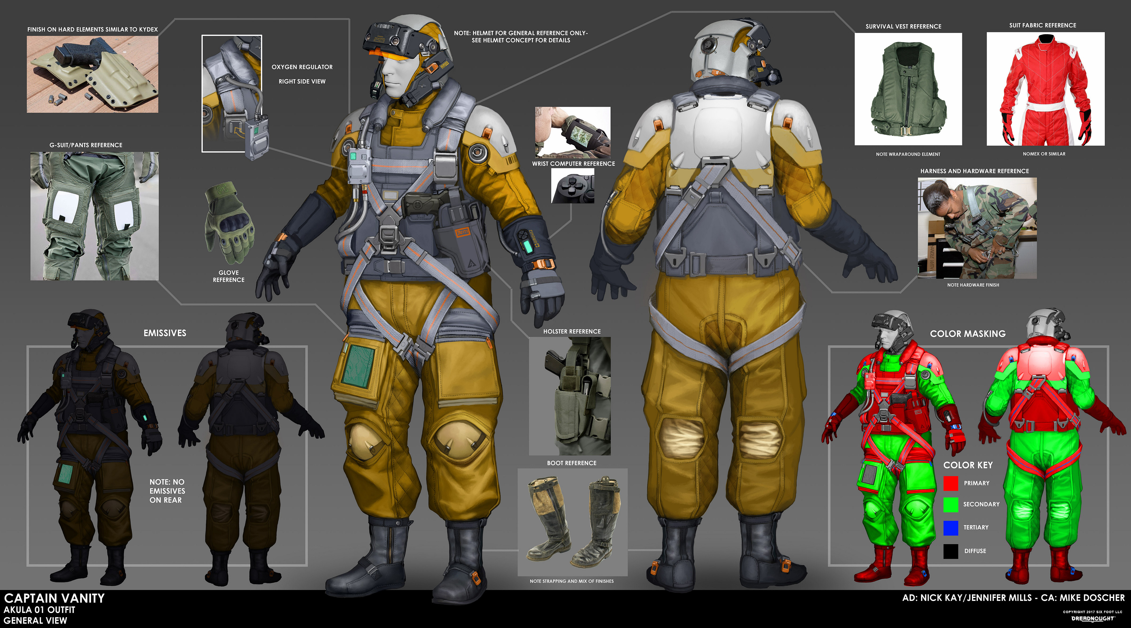 The helmet was deemed sufficiently promising that an entire character outfit was created to match the style and fit in with the Akula faction in Dreadnought.